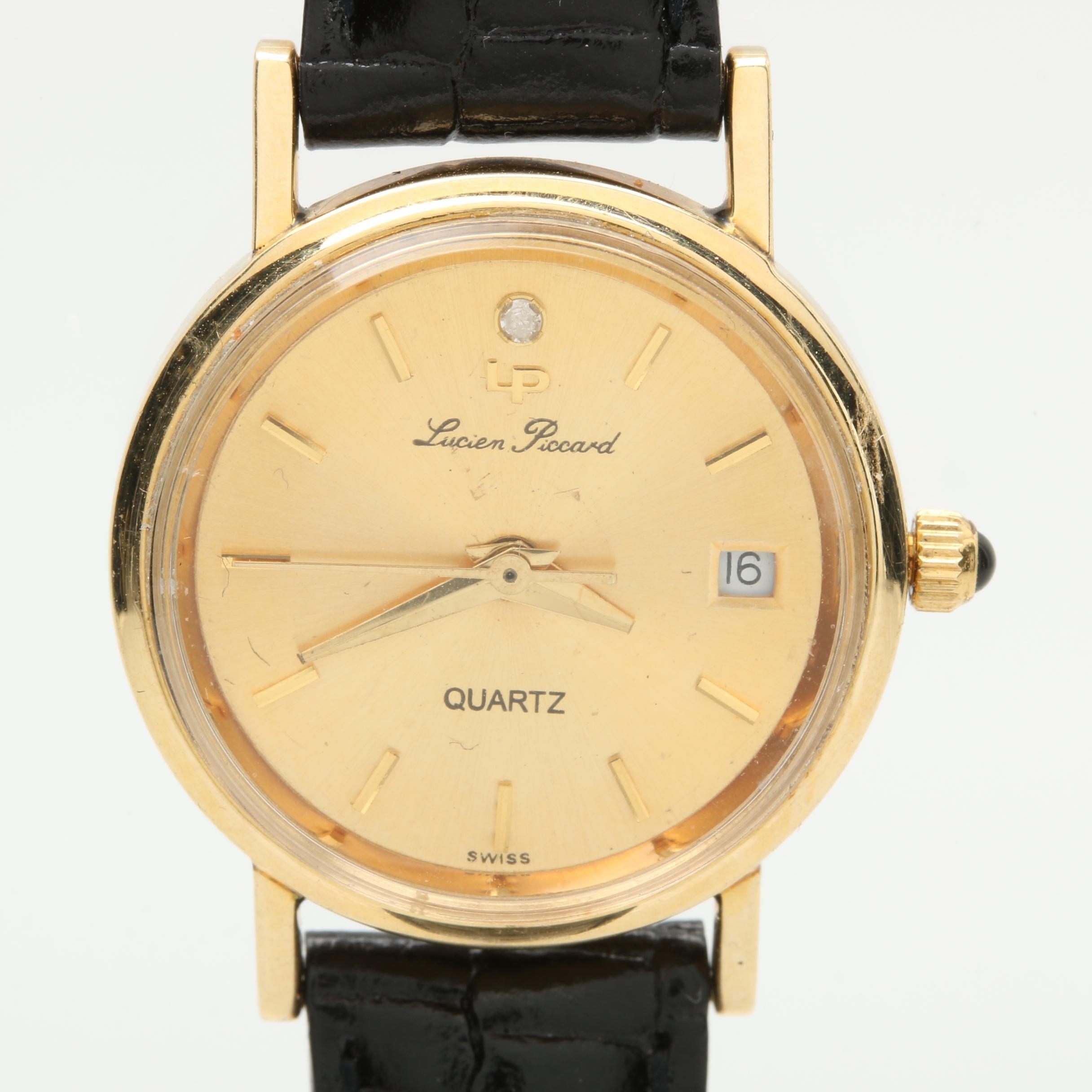 Lucien Piccard 14K Yellow Gold Diamond Wristwatch