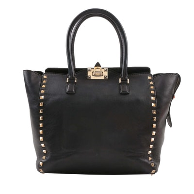 Valentino Garavani Rockstud Black Leather Studded Top Handle Shoulder Tote Bag