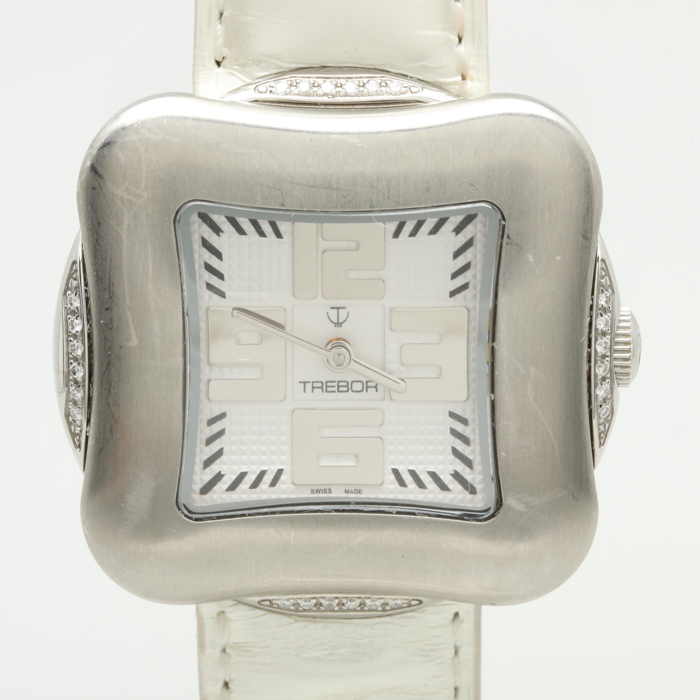 Trebor Stainless Steel Diamond Wristwatch