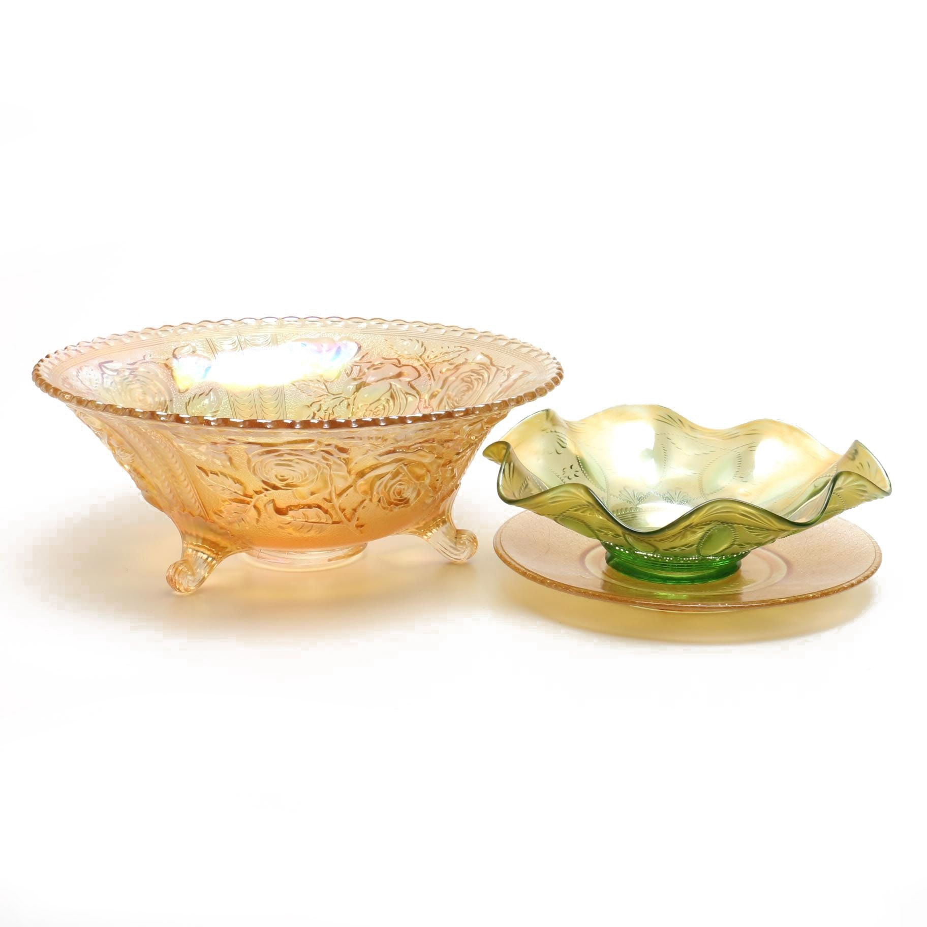 """Imperial Glass """"Mikado"""" Fruit Bowl, Northwood Bowl and """"Columbus"""" Plate"""