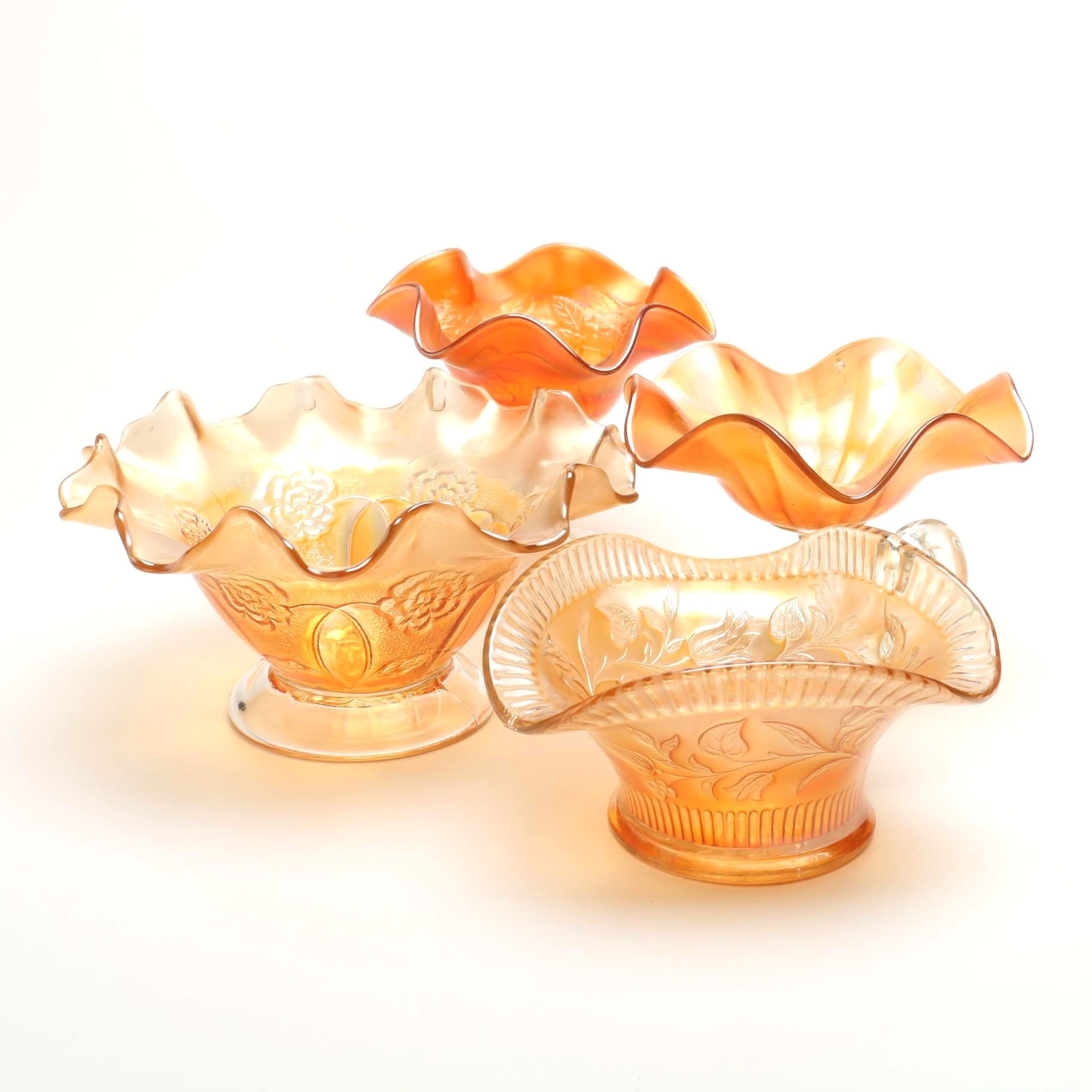 Carnival Glass Fruit Bowl, Two Compotes and Handled Nut Dish