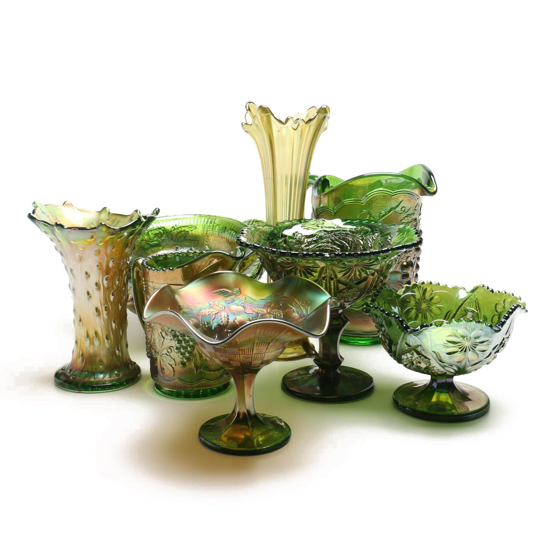 Vintage Green Carnival Glass Tableware