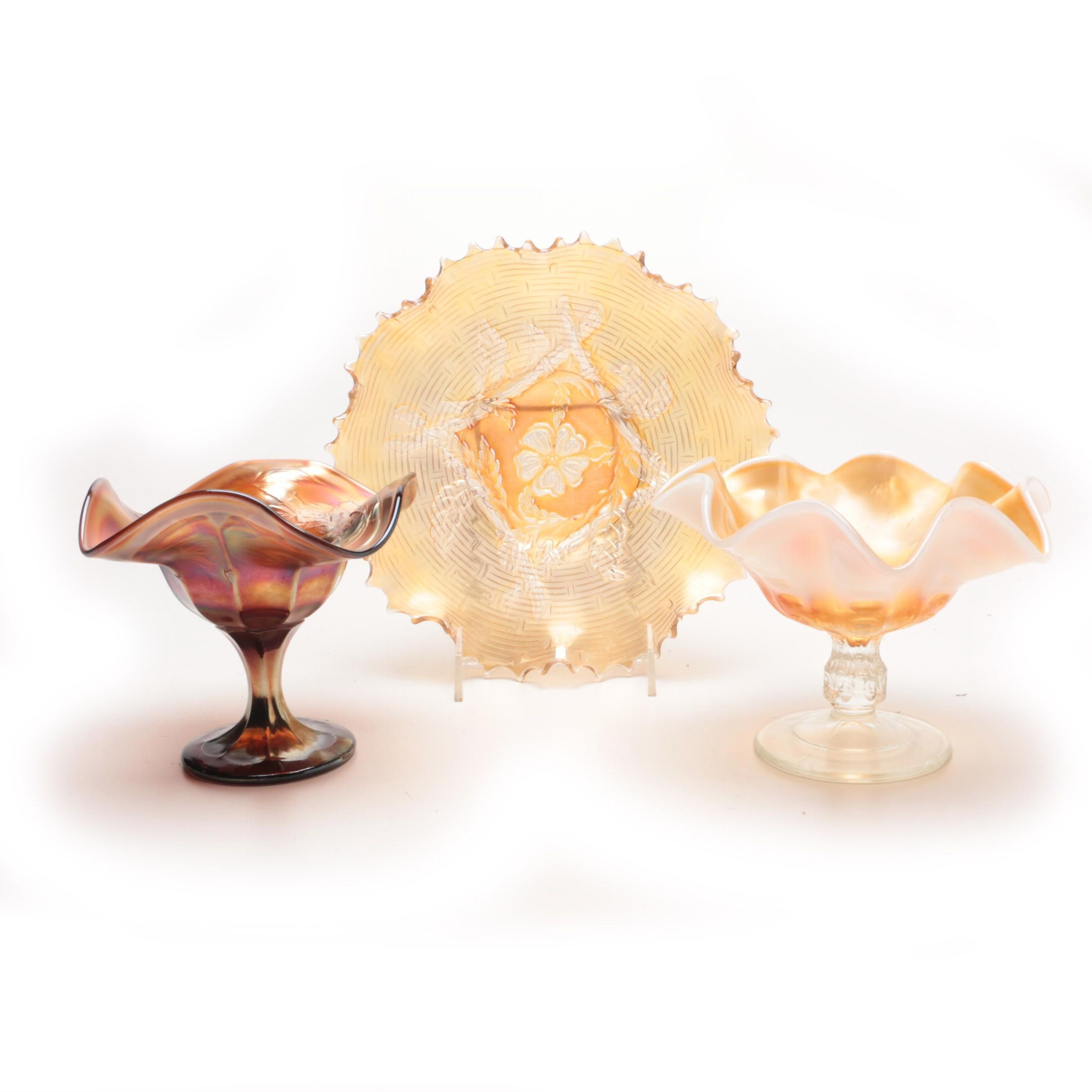 Dugan Carnival Glass Compotes and Bowl