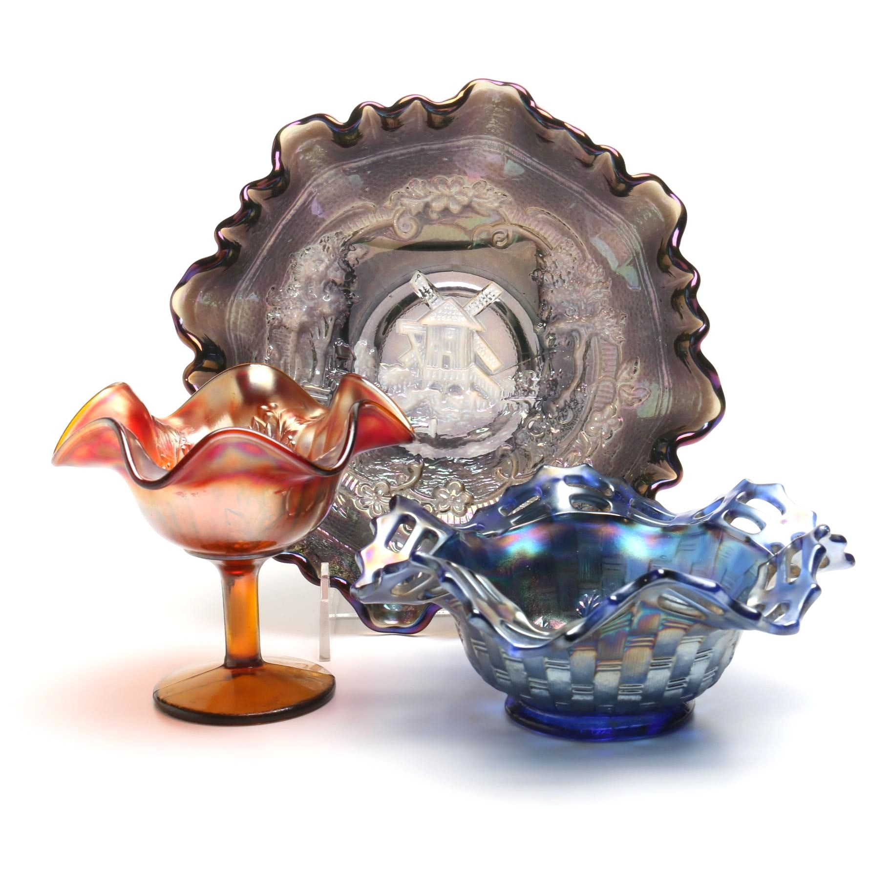 Carnival Glass Bowls and Compote