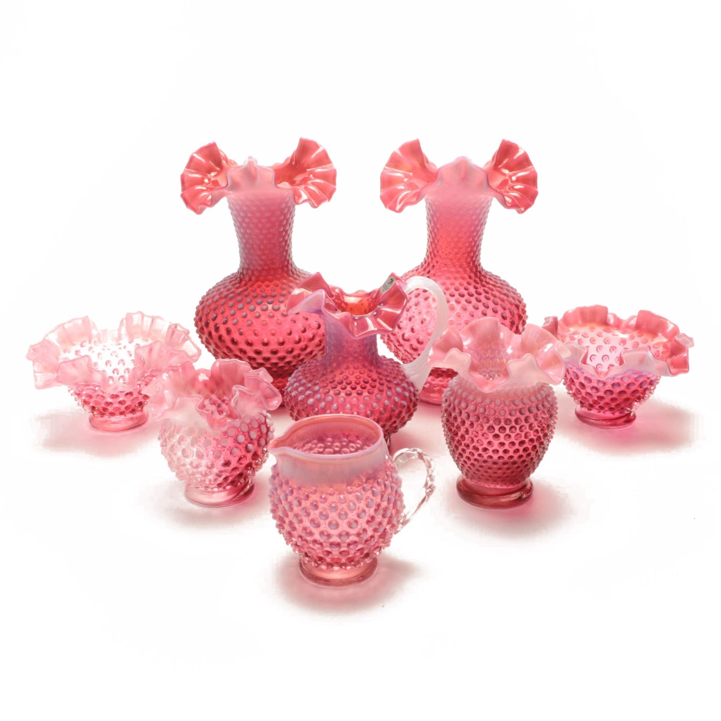 Assortment of Cranberry Opalescent Hobnail Glassware Including Fenton