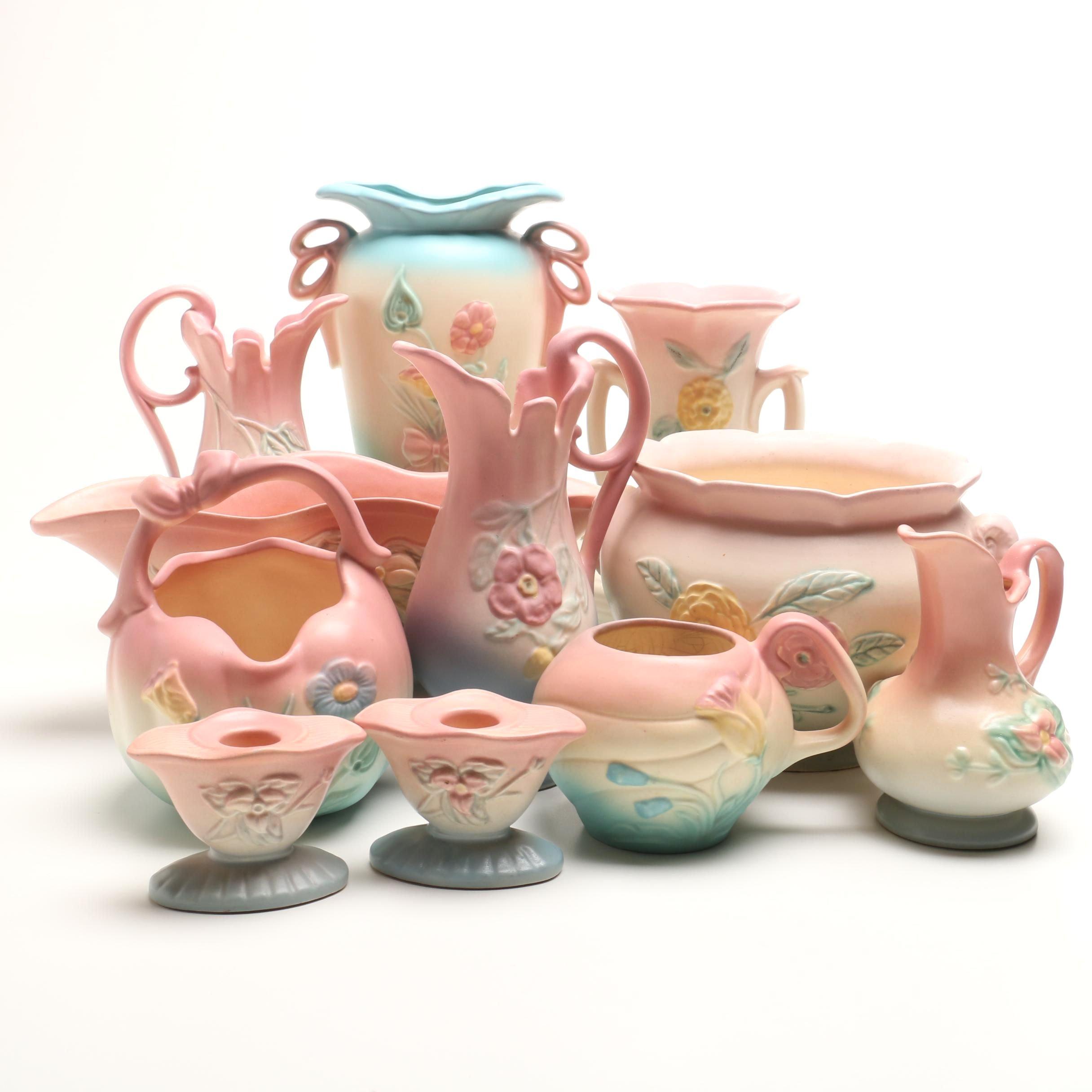 "Vintage Hull Pottery Including ""Open Rose"" Vase"
