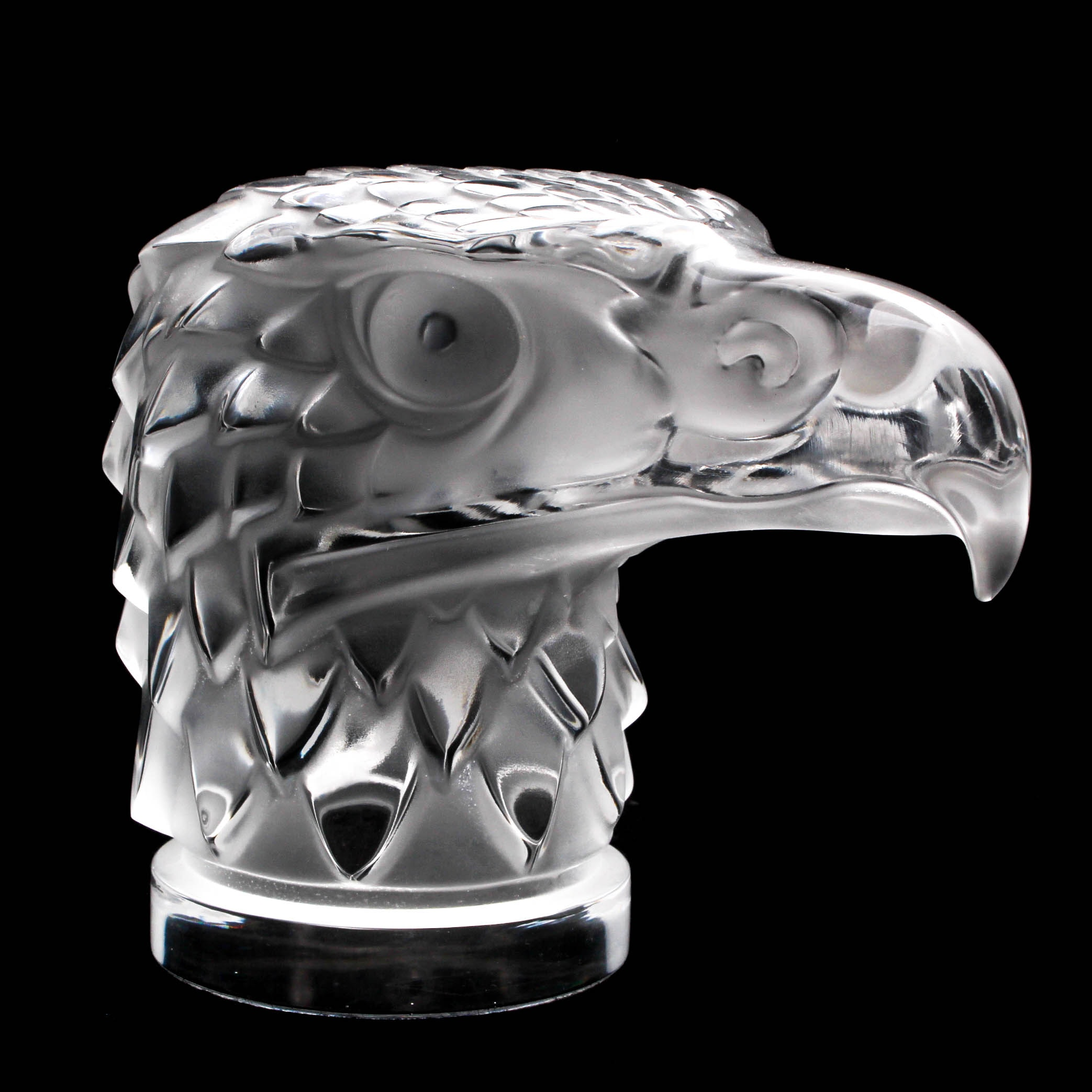 """Lalique Crystal """"Eagle Head"""" Paperweight"""