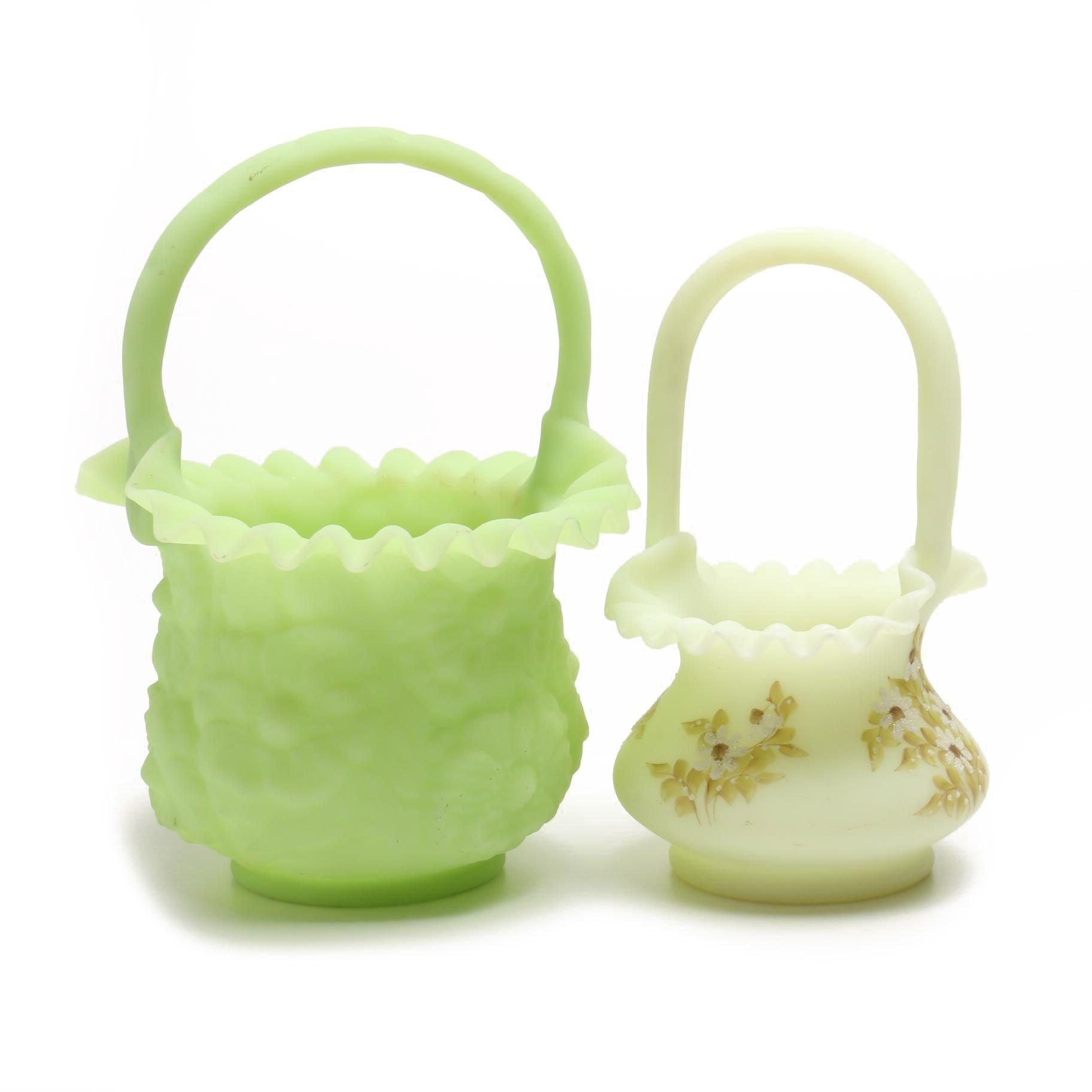 Pair of Art Glass Baskets
