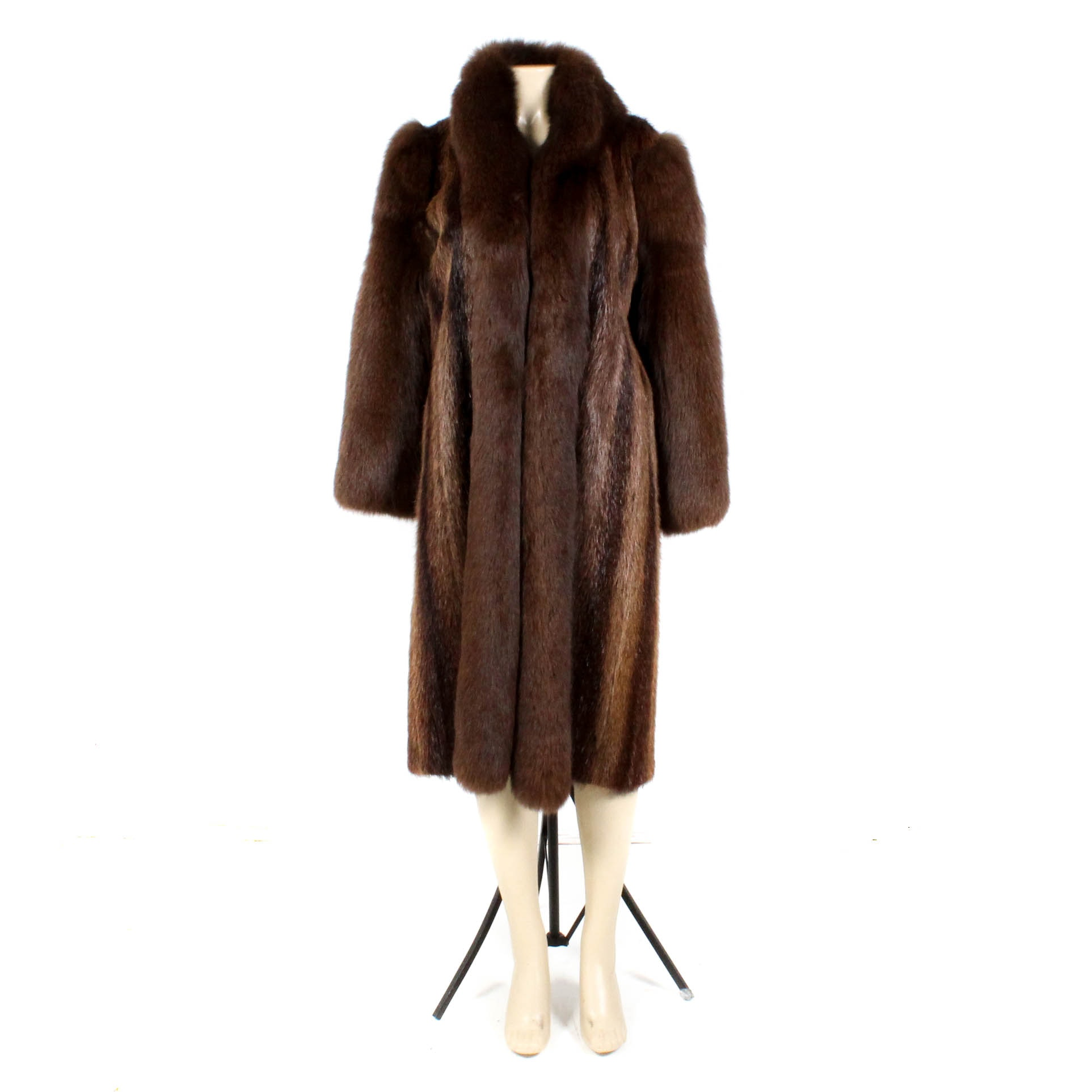 Vintage Shillito's Fur Salon Brown Fox and Dyed Beaver Fur Coat
