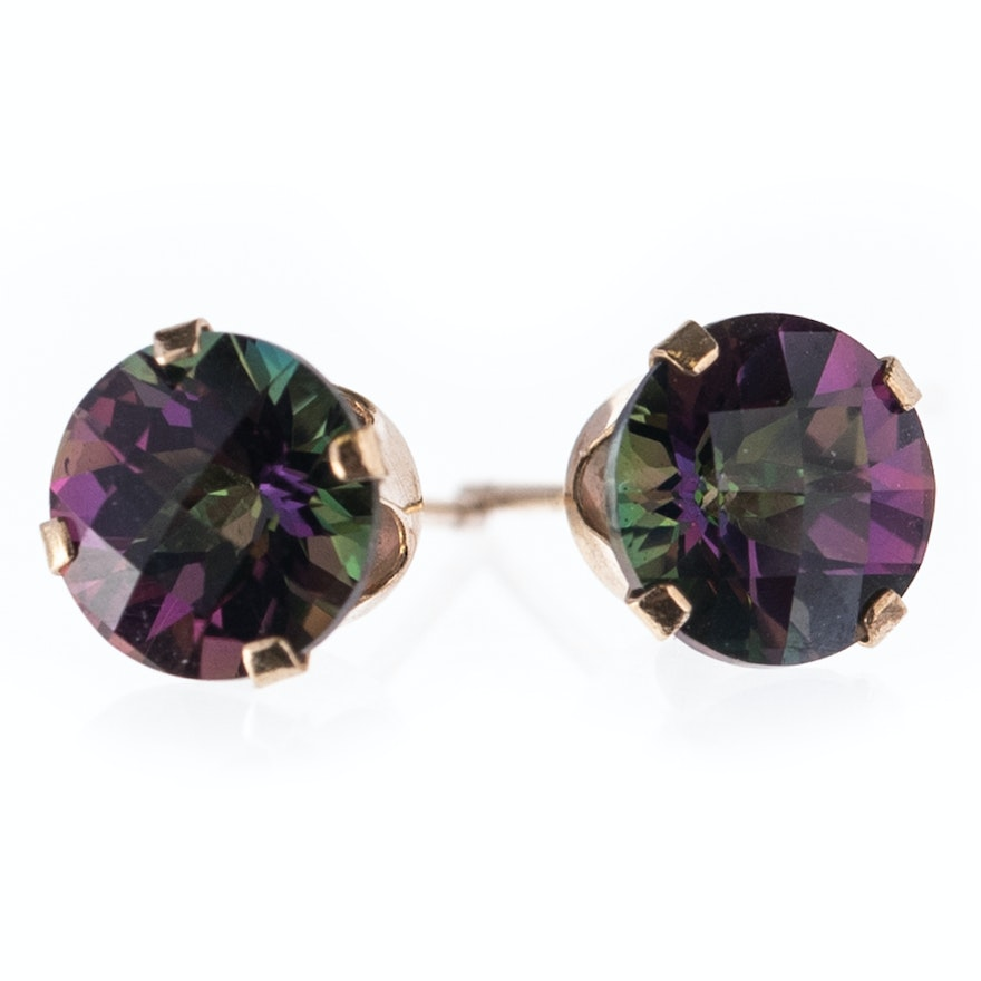 14k Yellow Gold Mystic Topaz Earrings