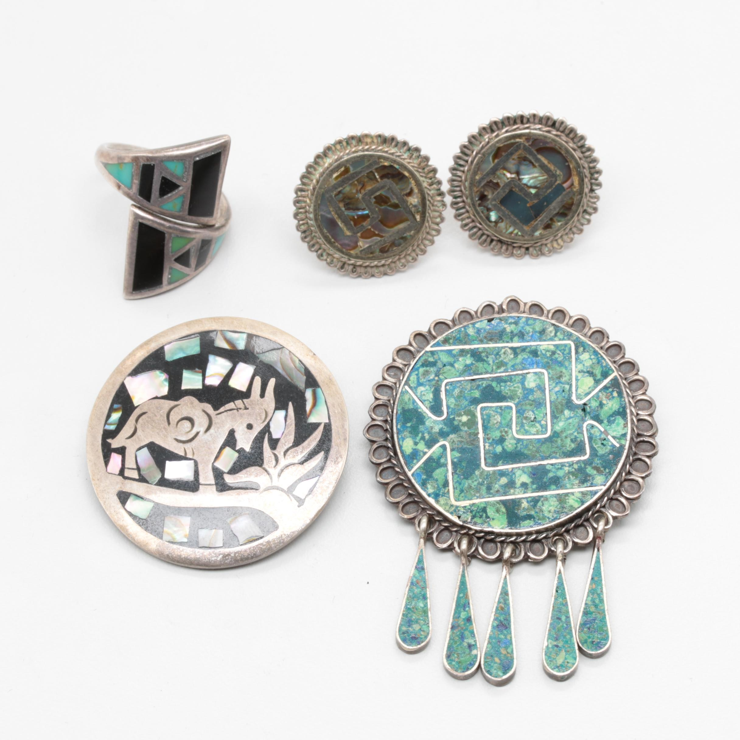 Mexican Sterling Silver Eilat Stone, Abalone, and Synthetic Turquoise Jewelry
