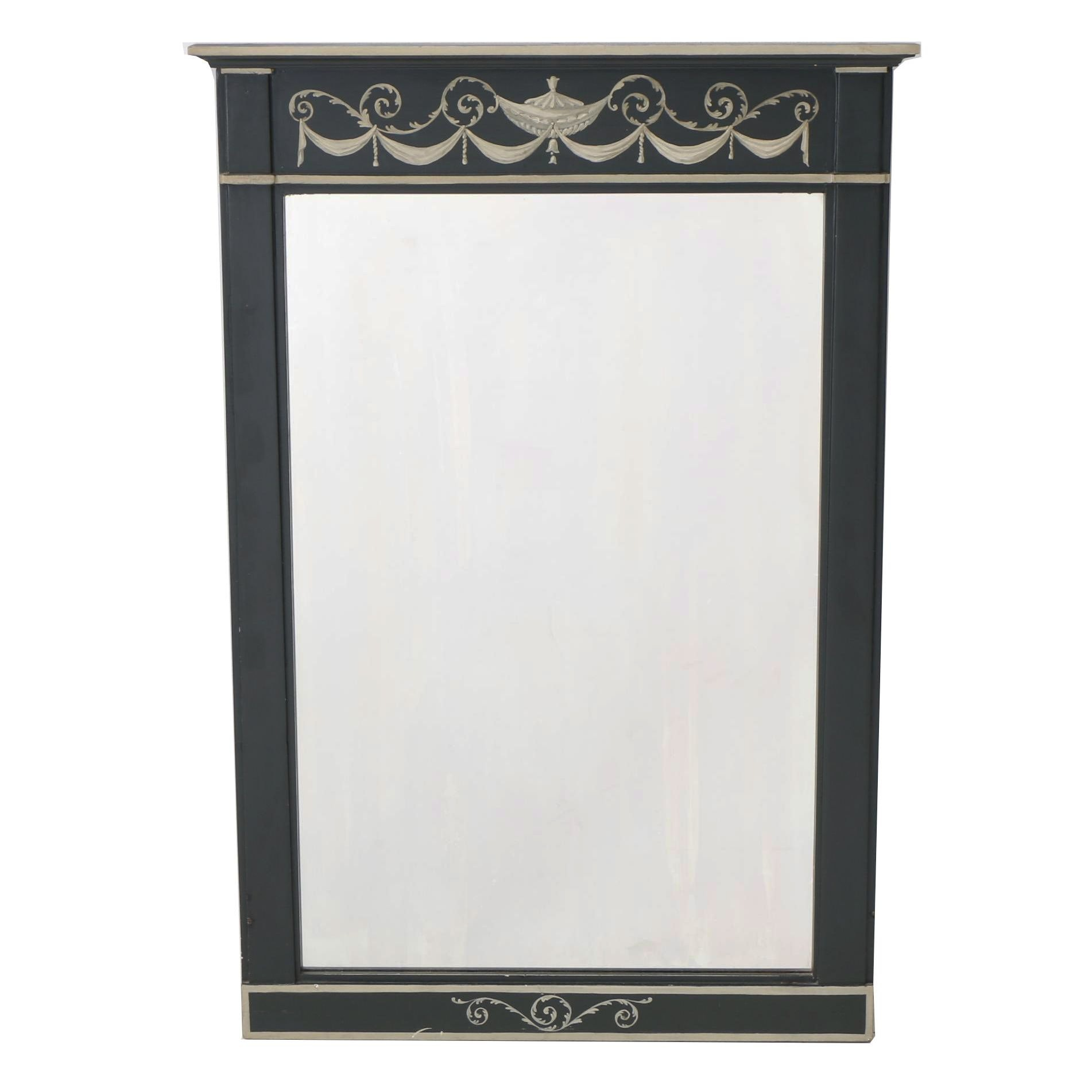 Hand-Painted Neoclassical Style Painted Trumeau Wall Mirror