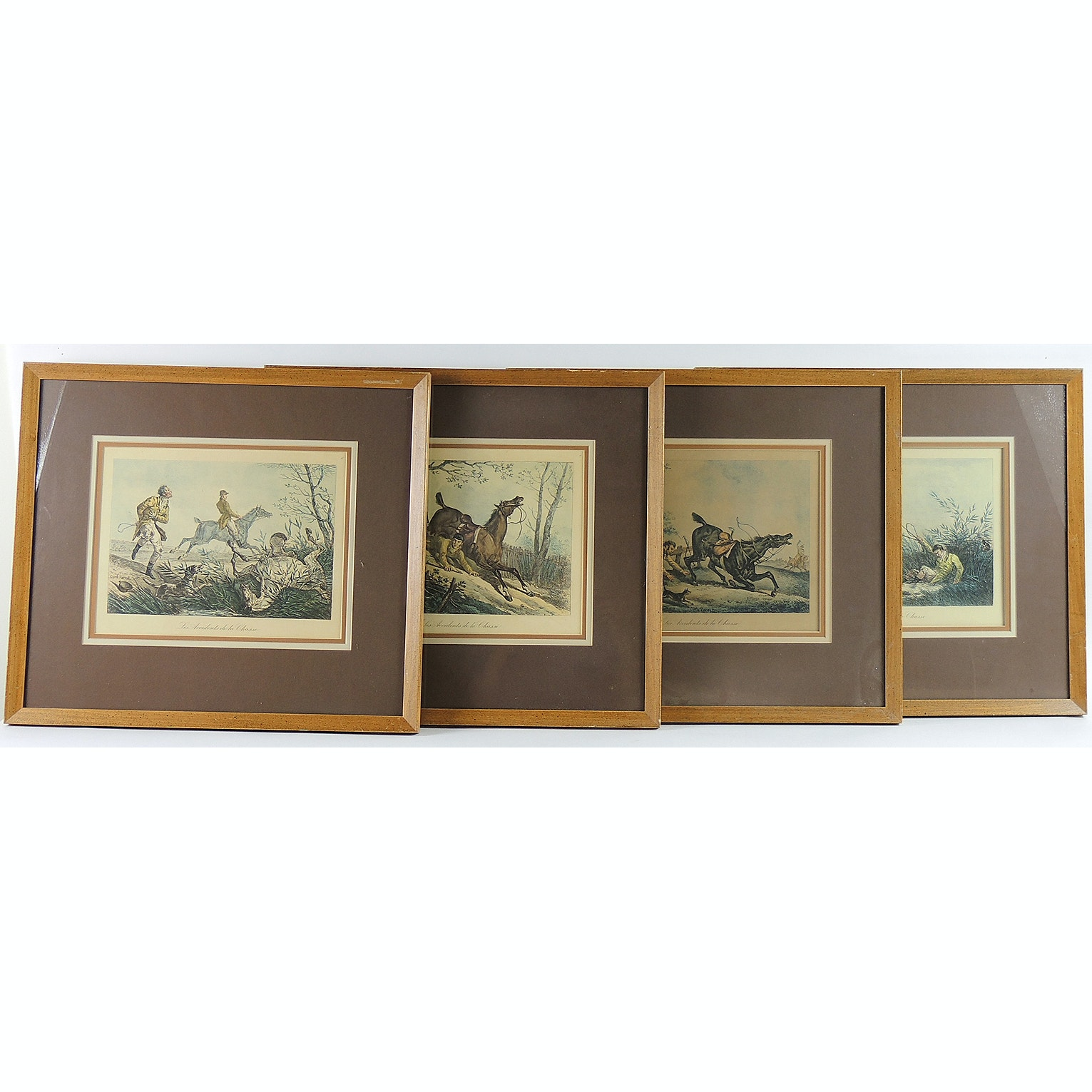 French Hand Colored Prints of Hunting Mishaps, After Carle Vernet