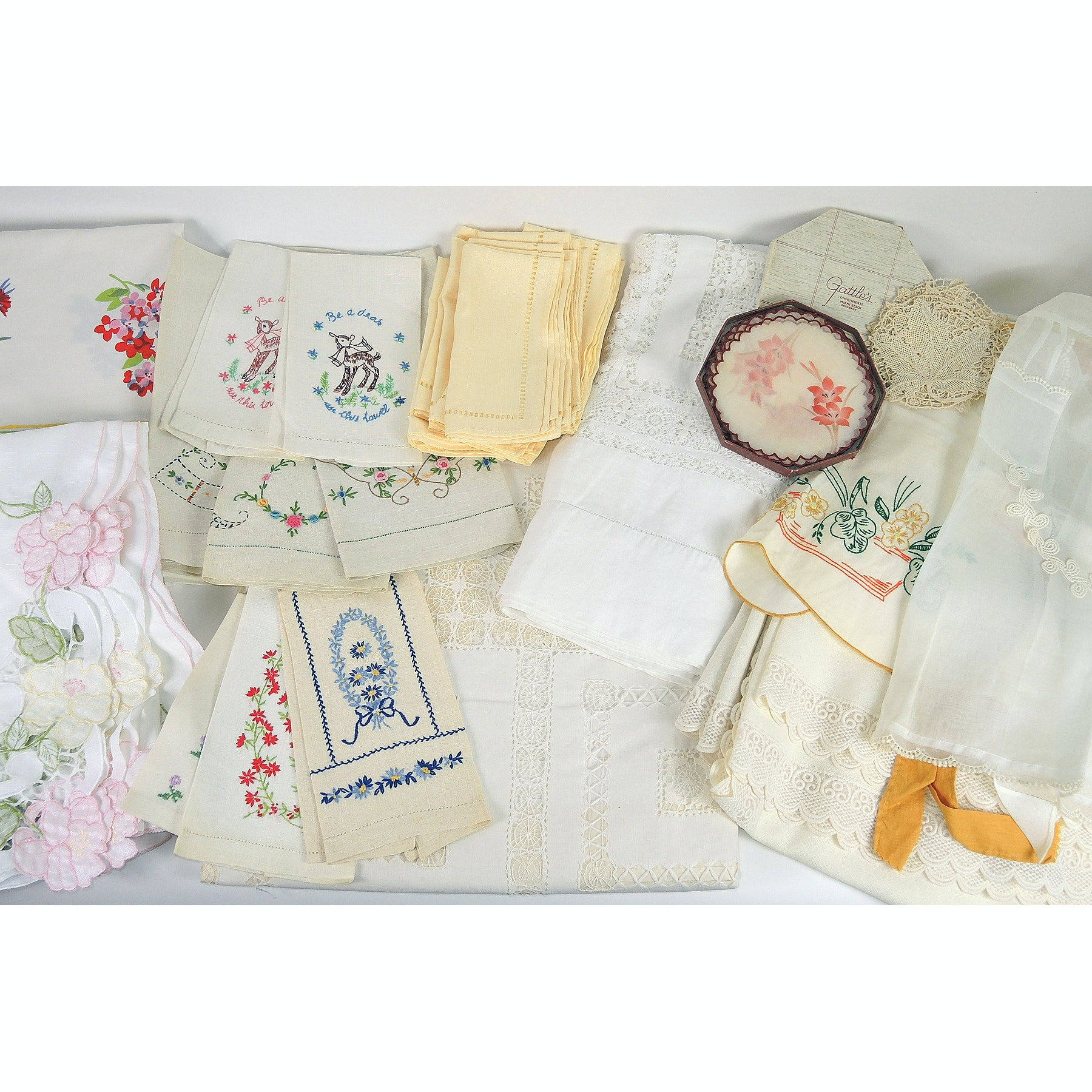 Lace, Cutwork and Embroidered Table Linens with Aprons