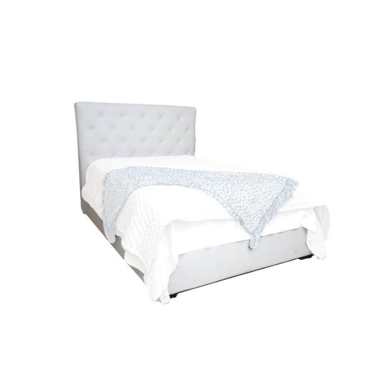 Full Size Tufted White Leather Platform Bed Frame