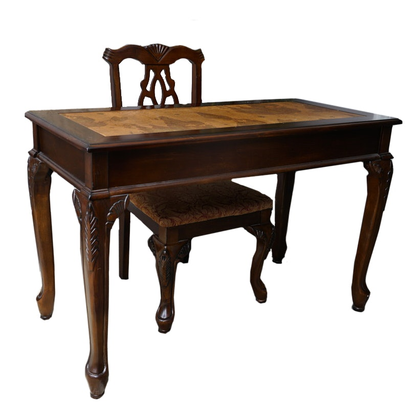 Chippendale Style Desk with Map Motif and Chair
