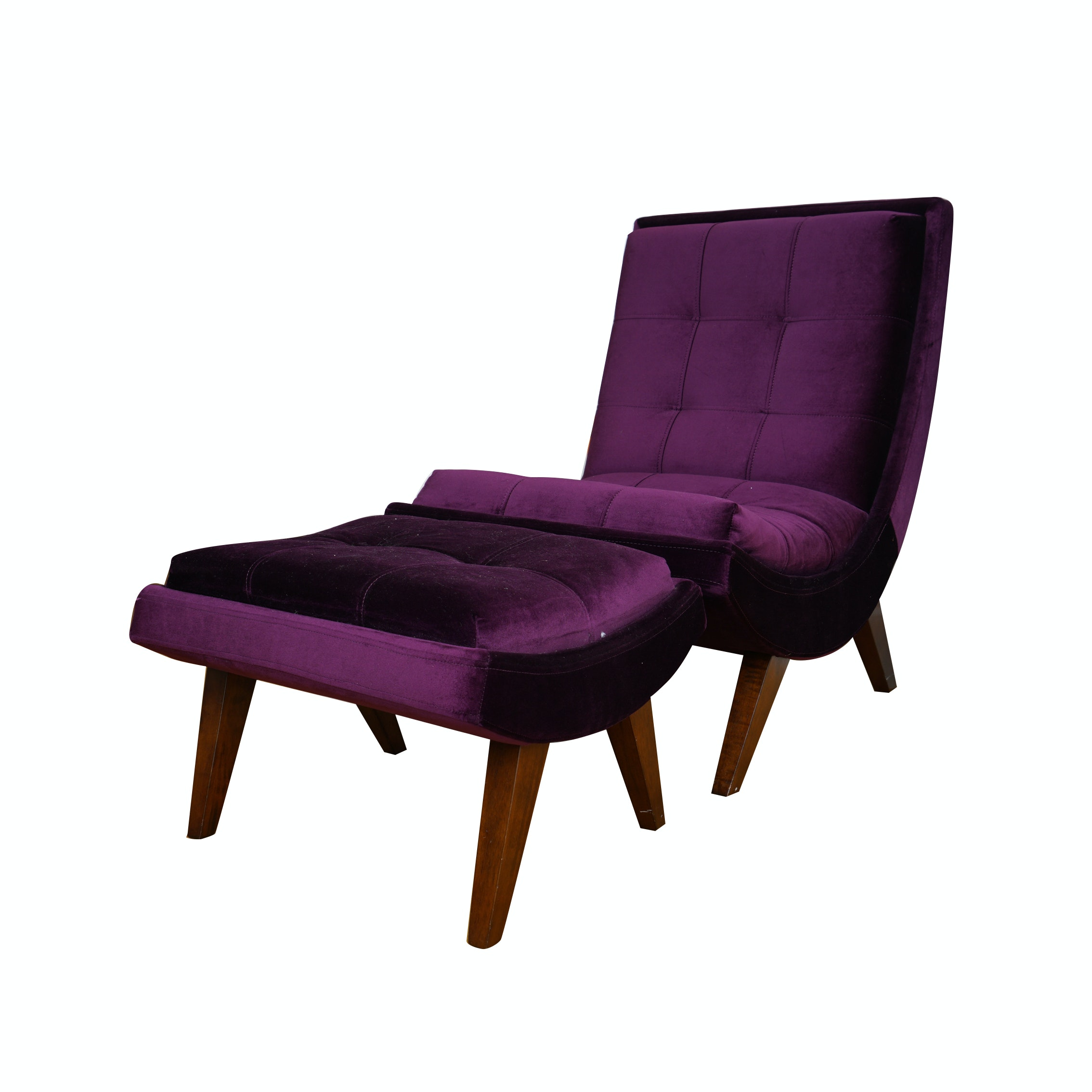 Modern Purple Lounge Chair with Ottoman