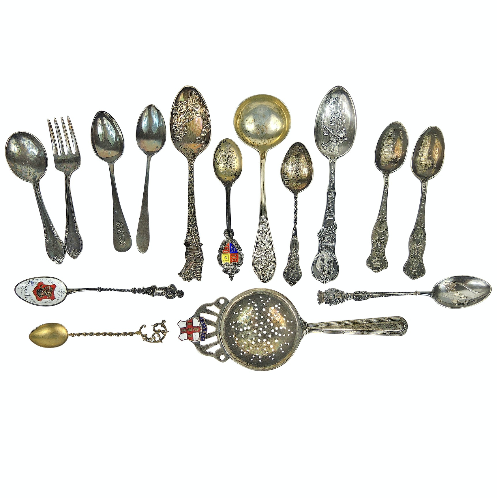 Collectible Souvenir Spoons and Forks with Sterling Silver Pieces