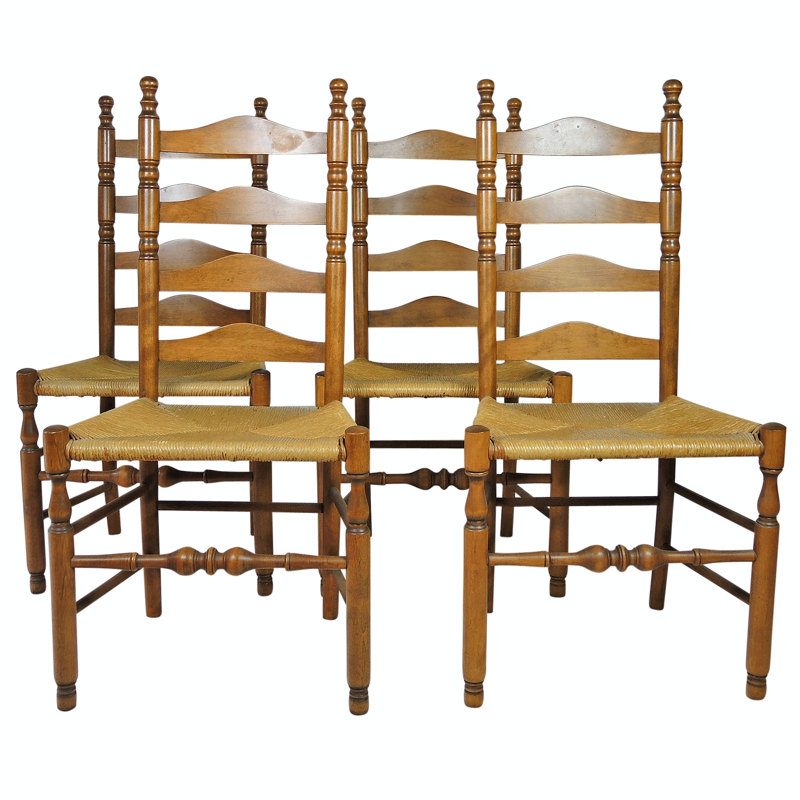 Walnut Ladder Back Side Chair Set with Rush Seats