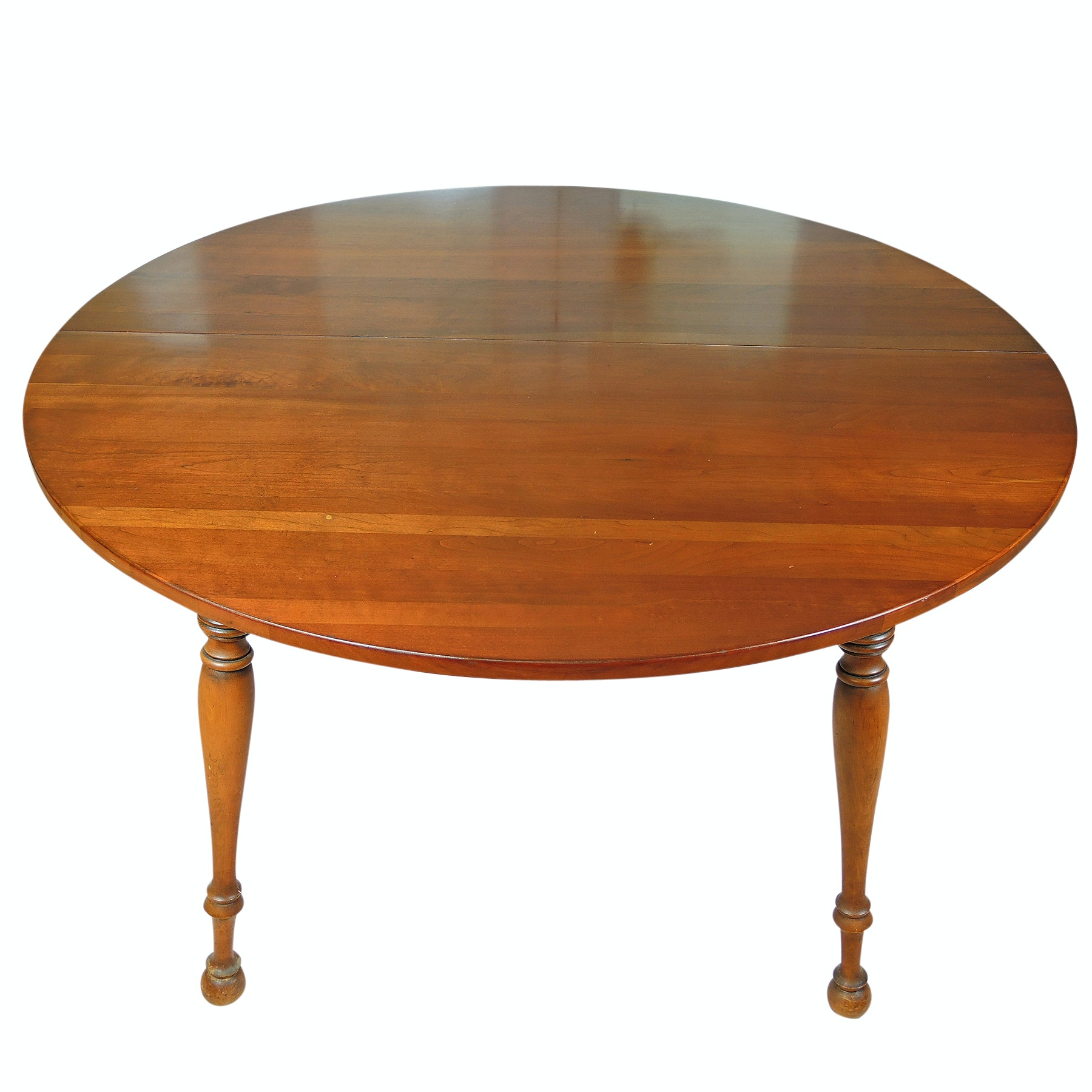 Vintage Round Cherry Table with Two Leaves and Pads