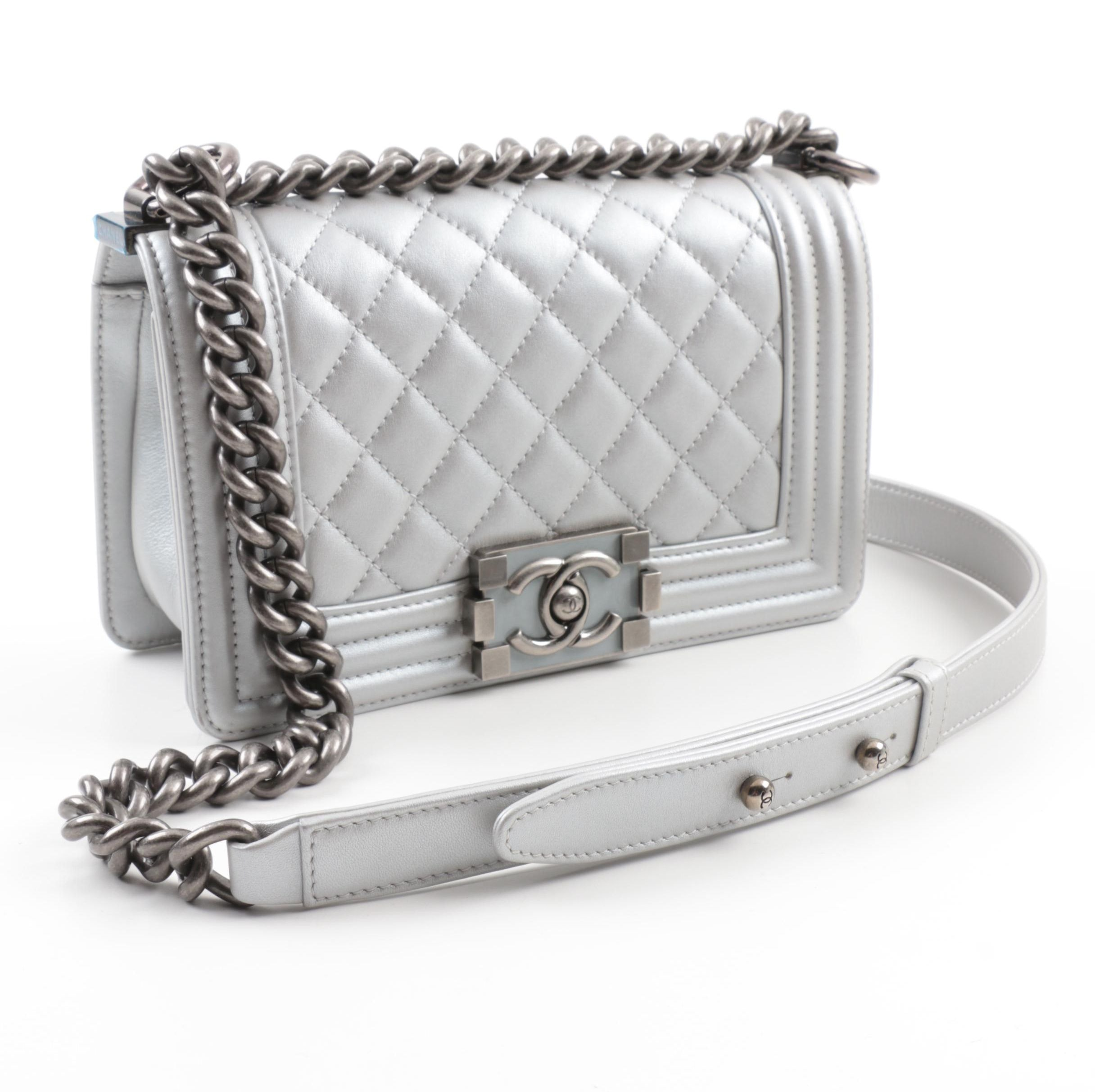 2014 Chanel Silver Metallic Calfskin Crossbody Boy Bag with Ruthenium Hardware