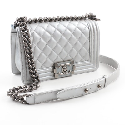 2014 Chanel Silver Metallic Calfskin Crossbody Boy Bag with Ruthenium Hardware