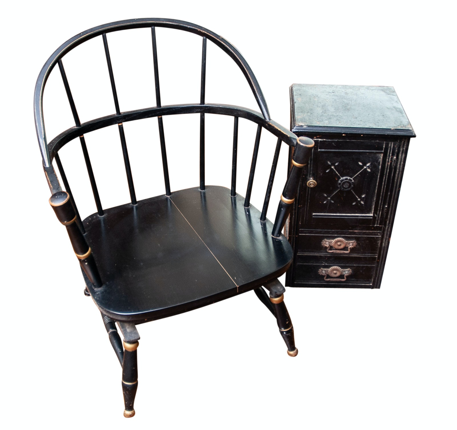 Antique Black Windsor Chair and Side Cabinet