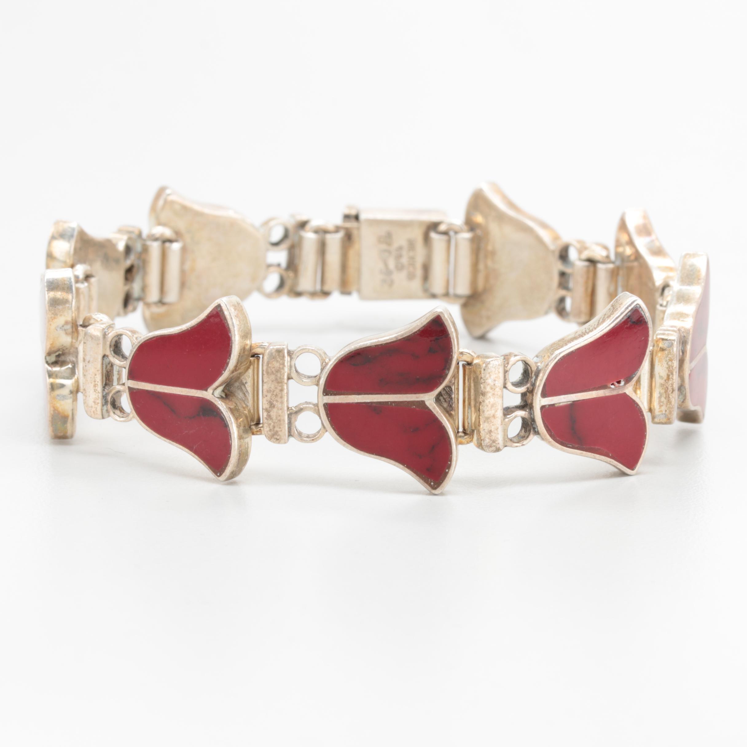 Taxco Mexico 950 Silver Jasper Inlay Foliate Bracelet