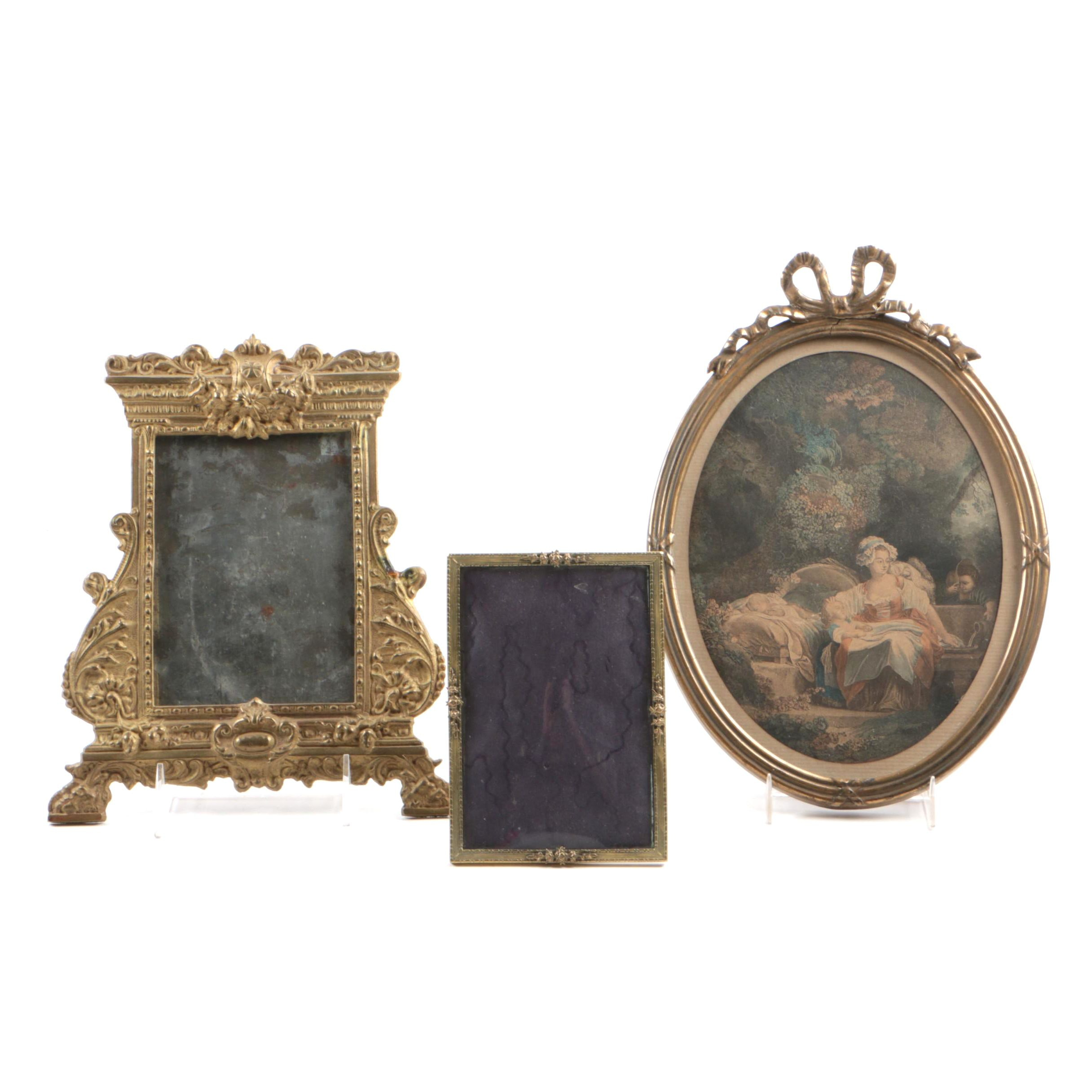 Three Gilt Frames, Including One with a Colored Engraving, Early 20th Century