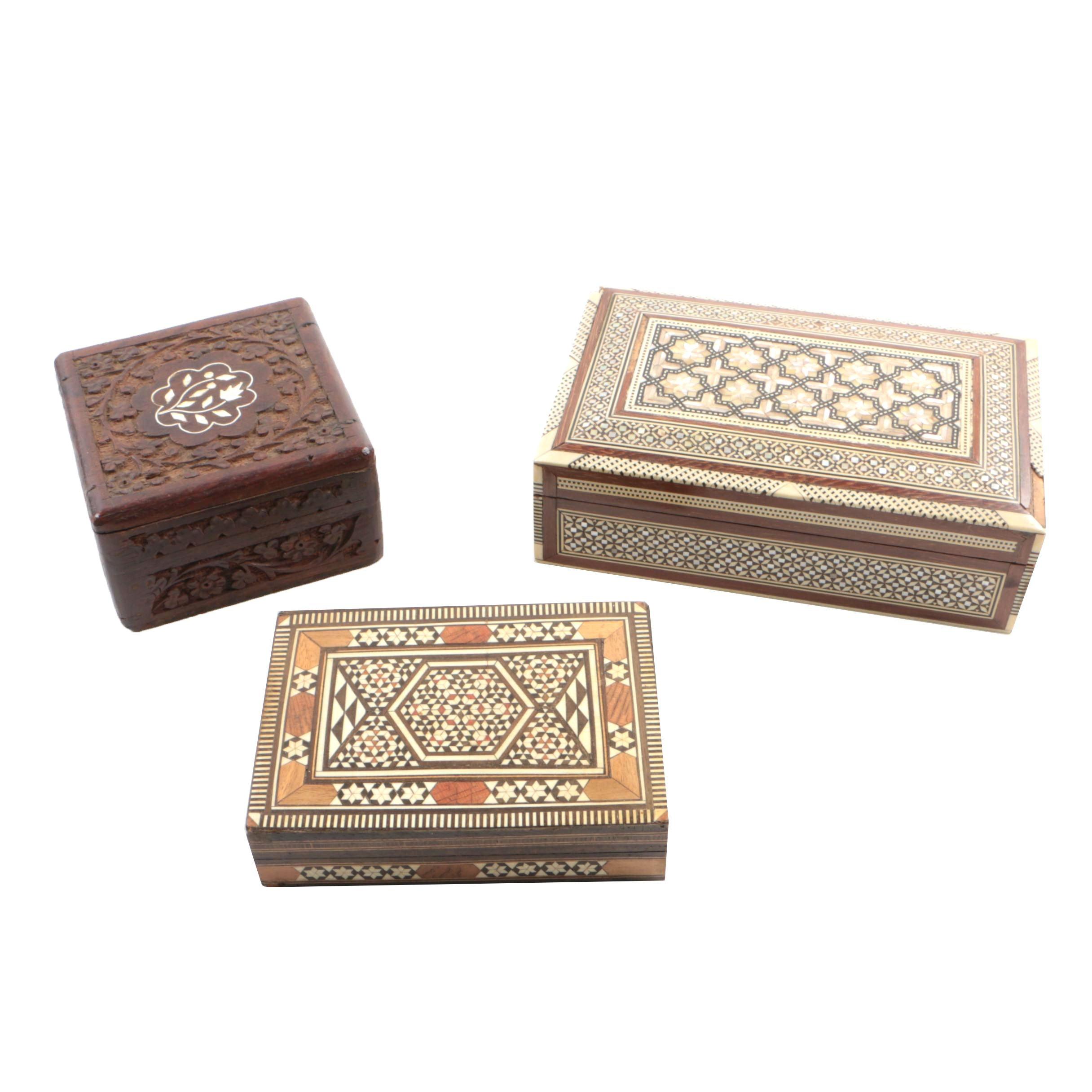 Three Syrian Bone-Inlaid Walnut Boxes, 20th Century