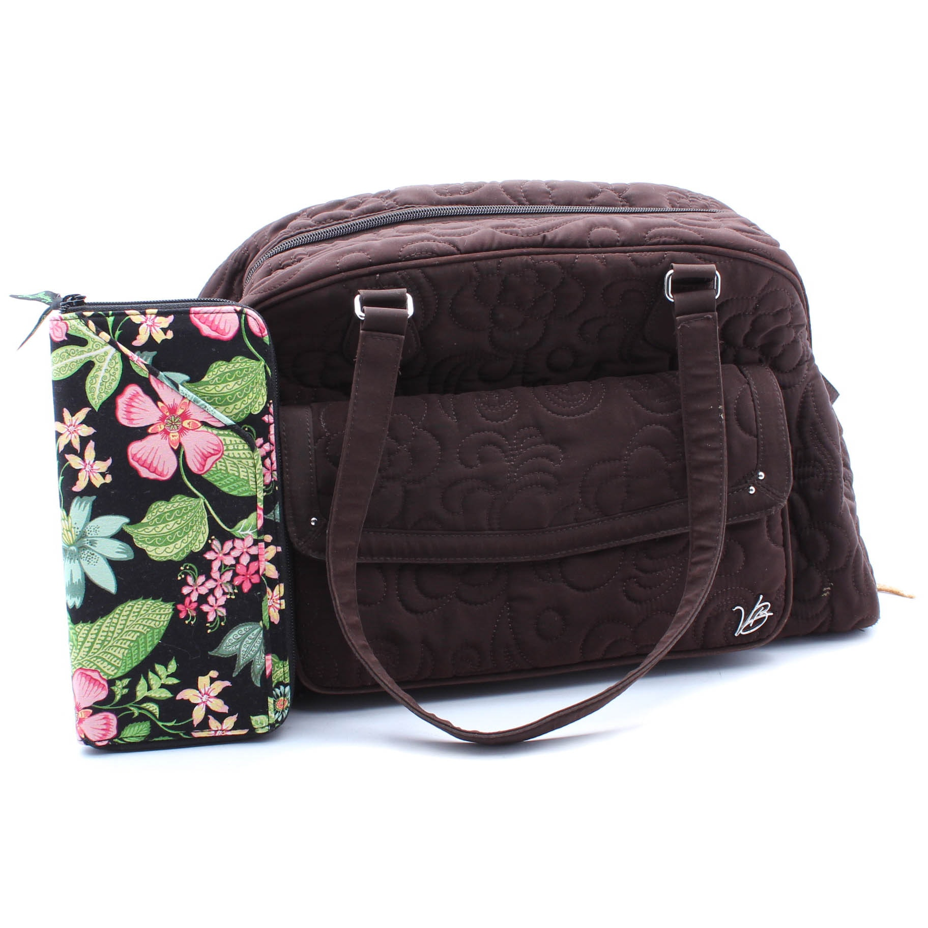 Vera Bradley Quilted Brown Cotton Diaper Bag and Multicolor Wallet