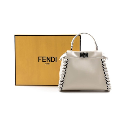 Fendi Peekaboo White Nappa Leather Mini Satchel with Weaving