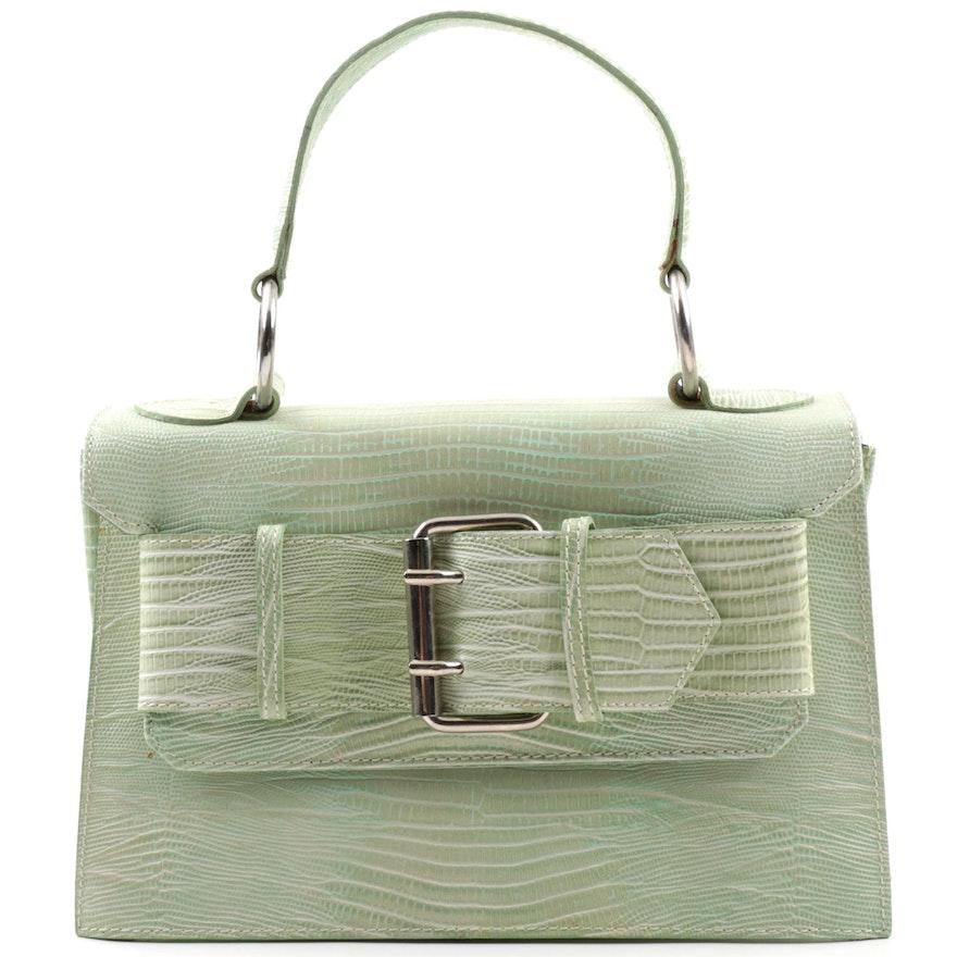 28f531ebd59 Tosca Blu Lizard Embossed Mint Green Leather Handbag   EBTH