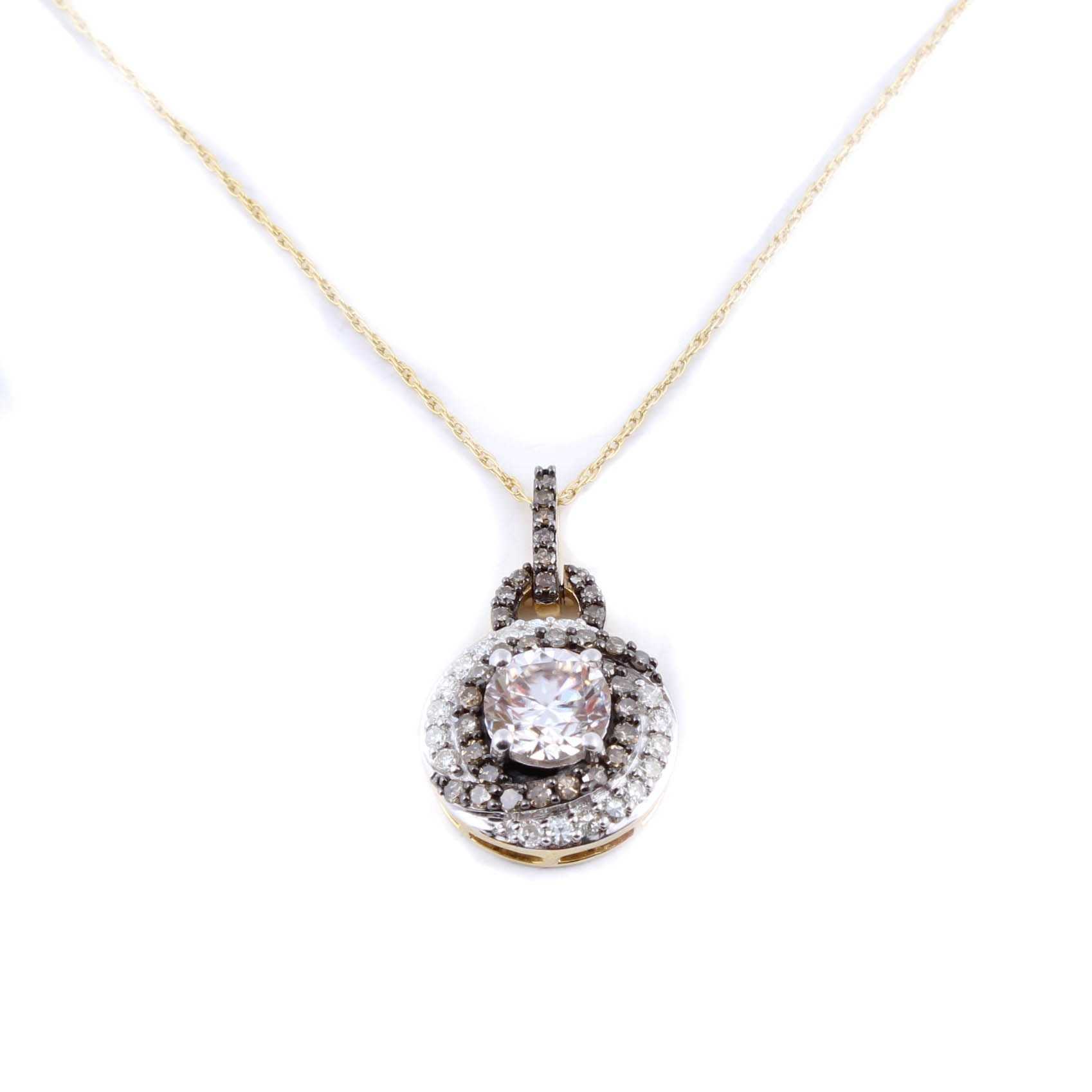 Sterling Silver with Gold Wash Necklace with Moissanite and Diamonds