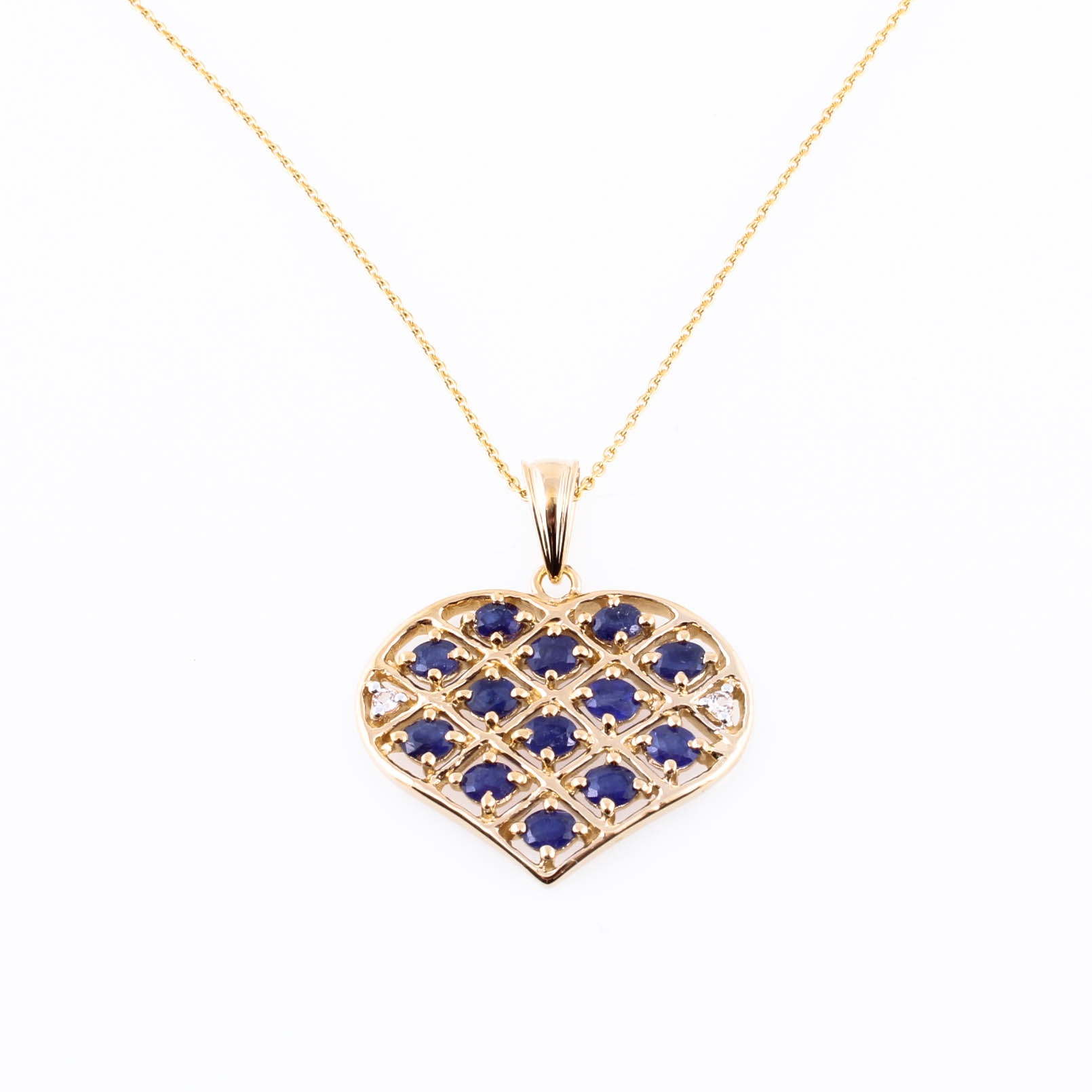 Sterling Silver with Gold Wash Heart Pendant with Sapphires and White Topaz