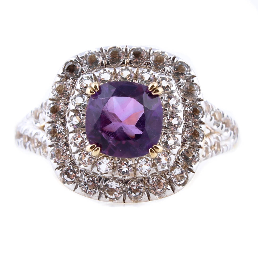 Sterling Silver with Gold Wash Ring with Amethyst and White Topaz