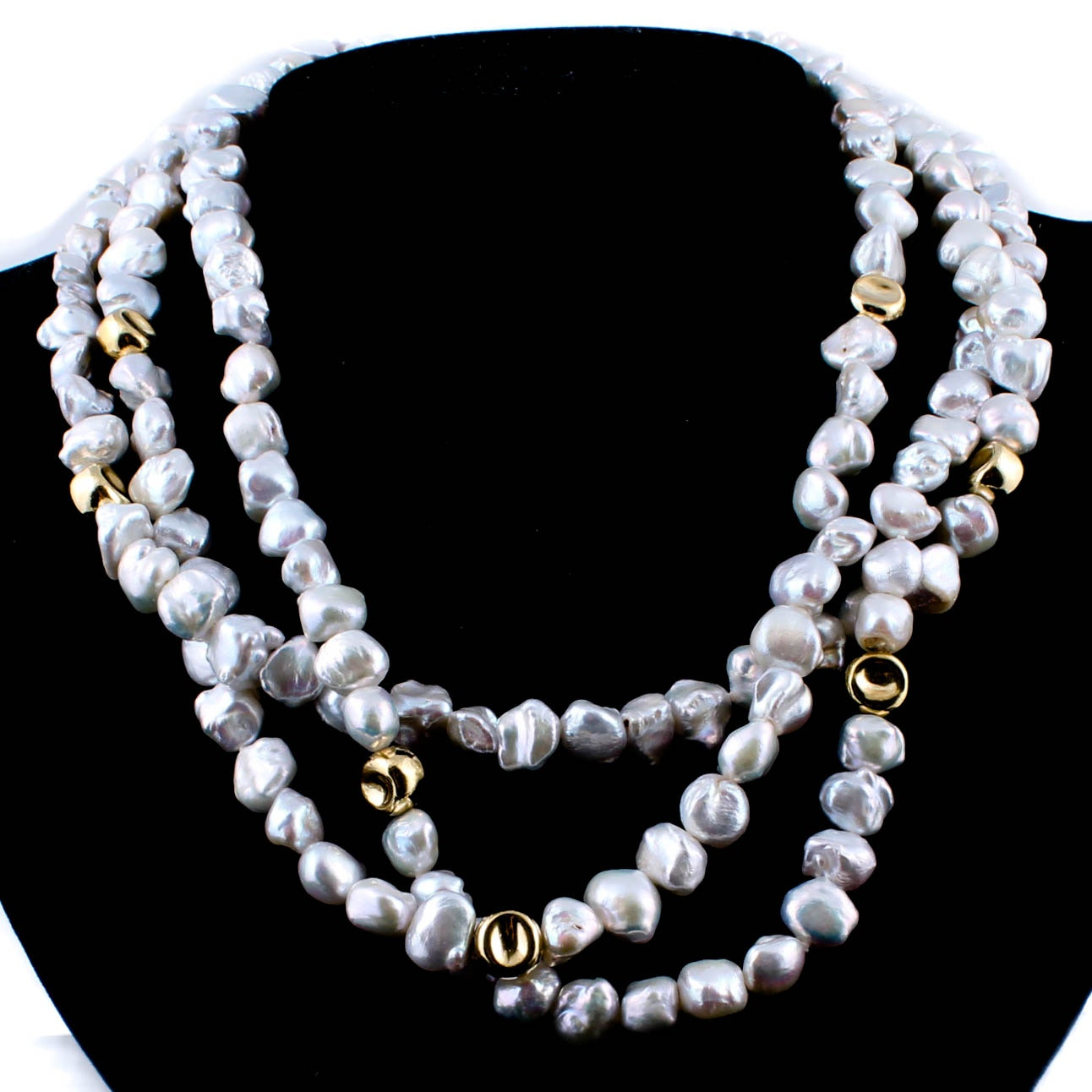 Sterling Silver with Gold Wash and Cultured Freshwater Pearl Necklace