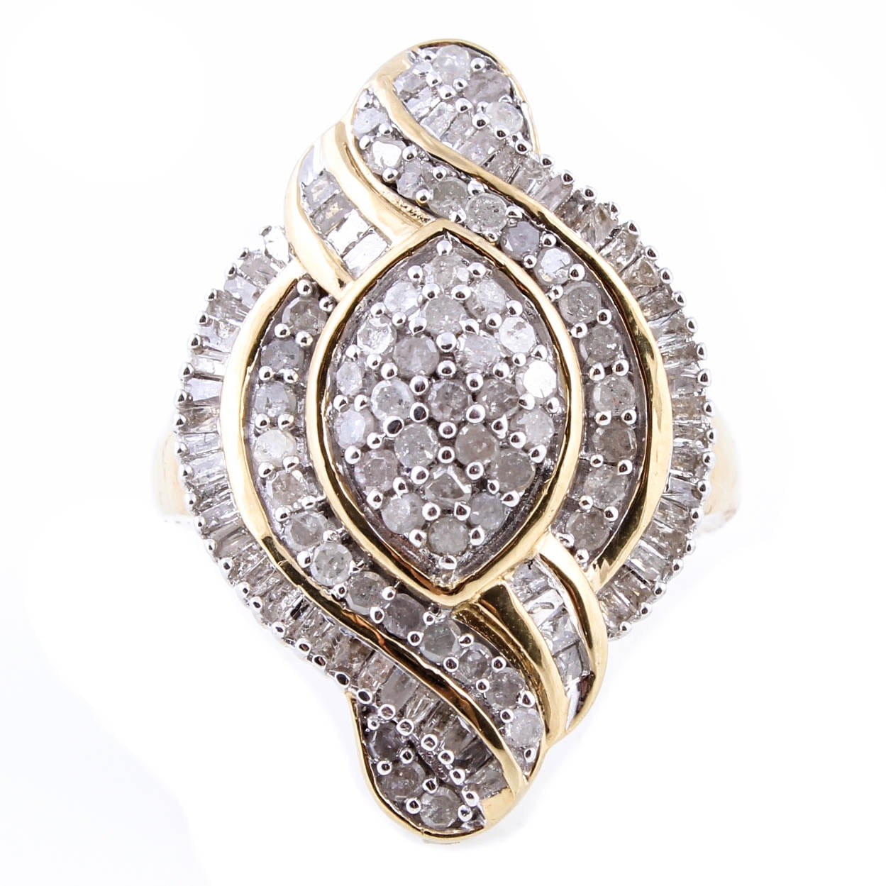 Sterling Silver with Gold Wash and 1.50 CTW Diamond Ring