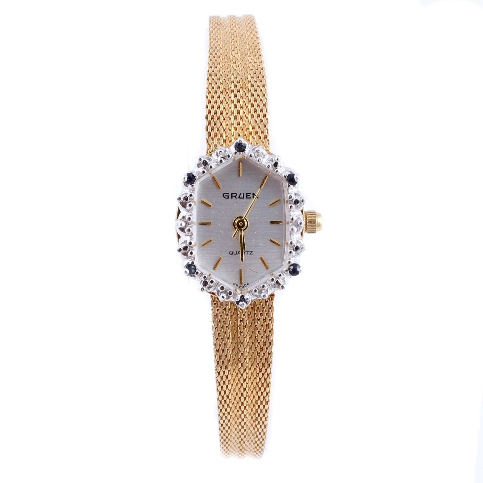 Gruen Ladies Gold Tone Wristwatch with Diamonds