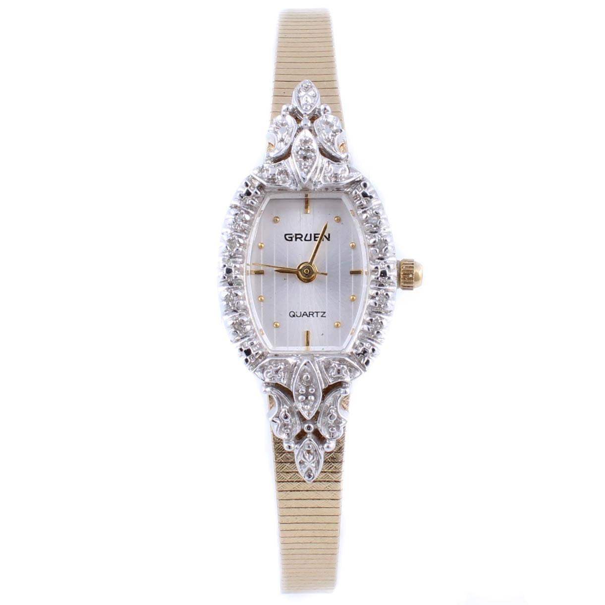 Gruen Gold Tone Wristwatch with Diamonds
