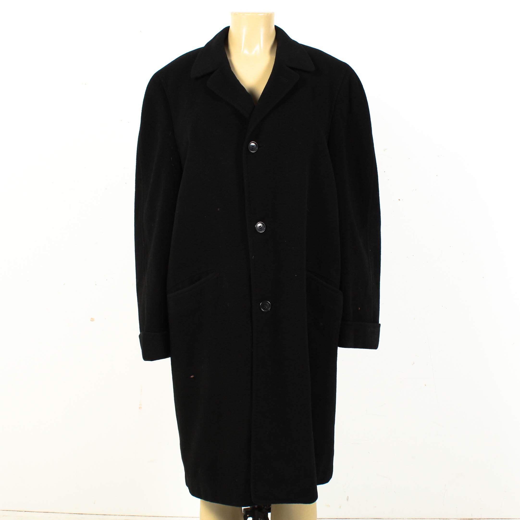 Vintage Black Cashmere Overcoat