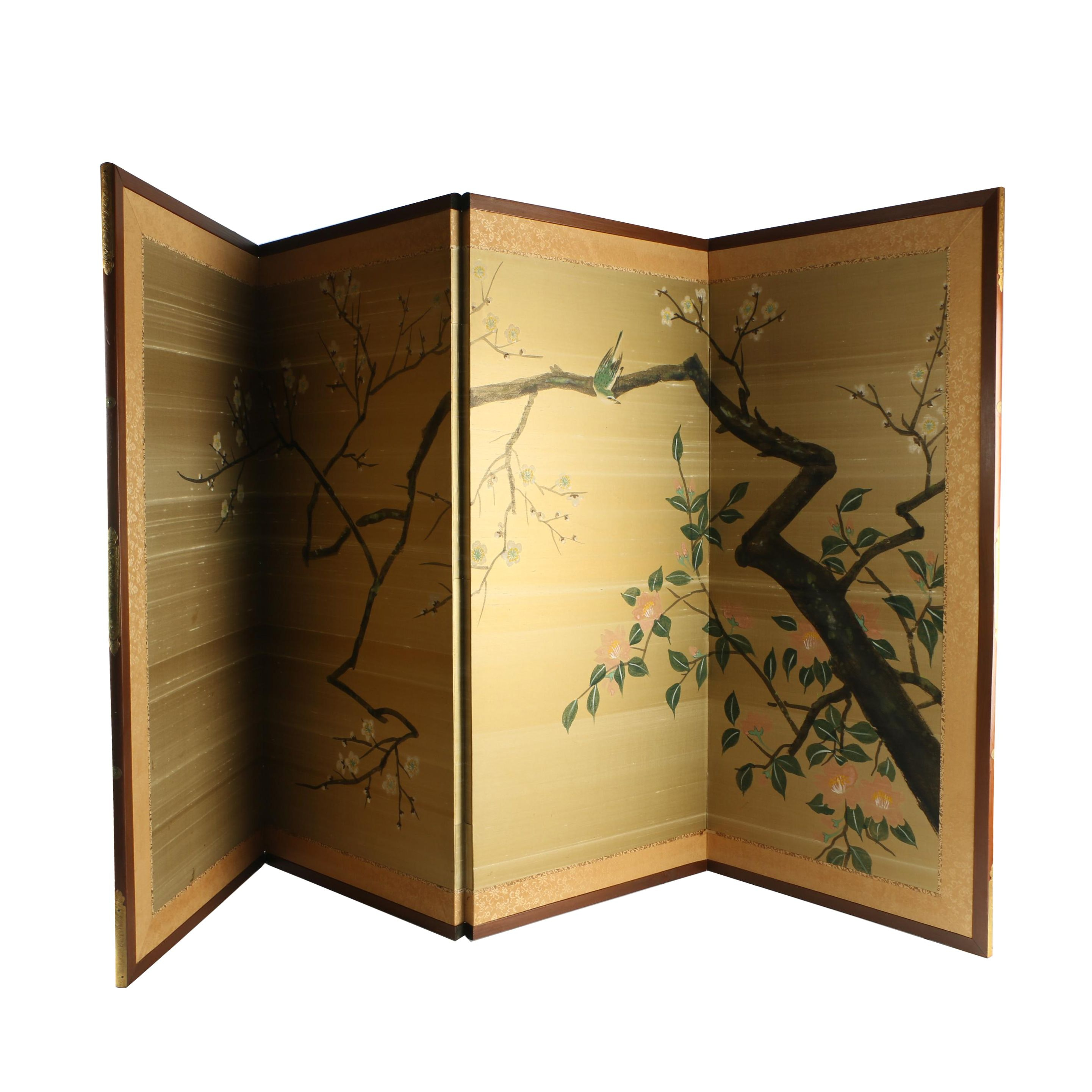 Vintage Japanese Four-Panel Painted Screen