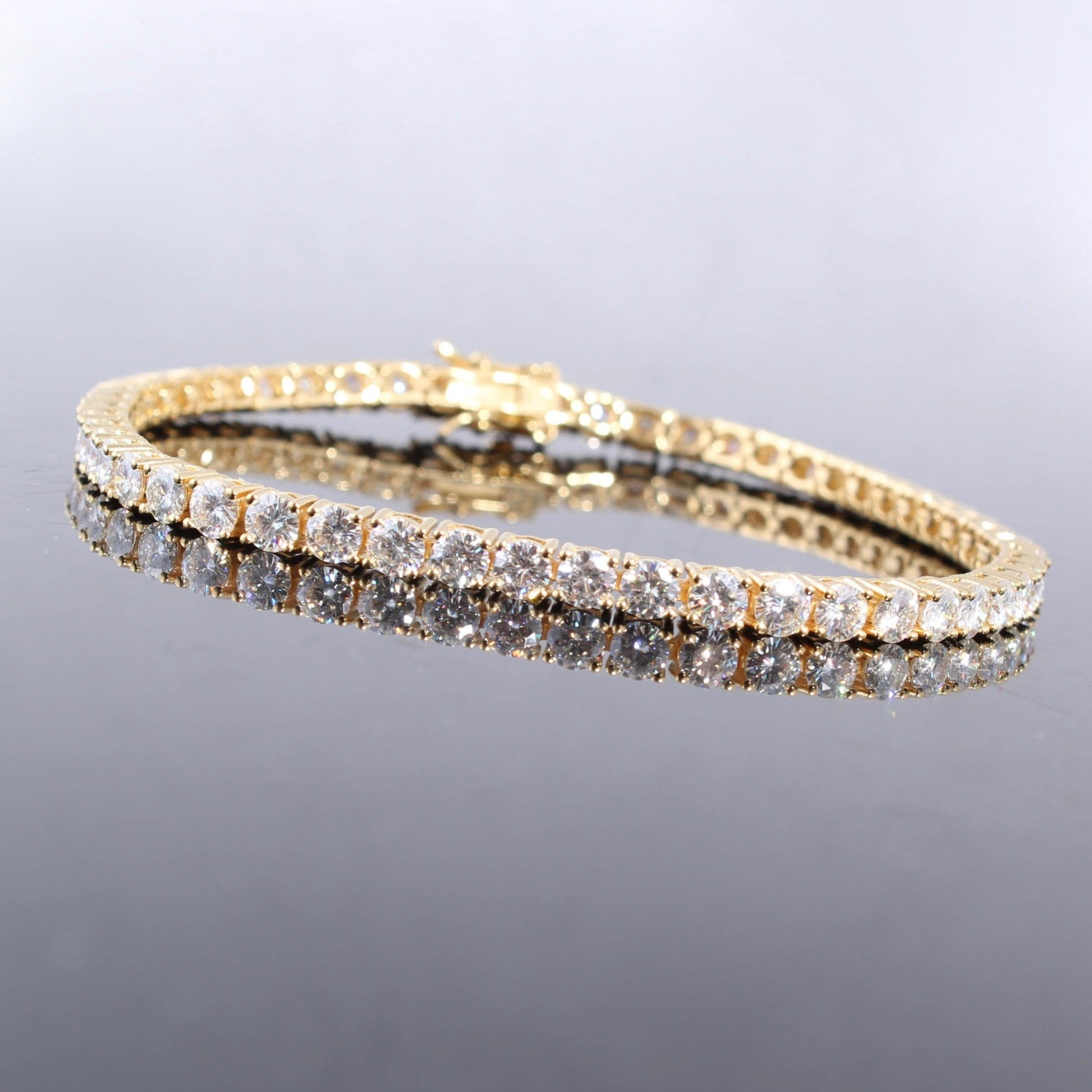 Sterling Silver with Gold Wash and Moissanite Tennis Bracelet