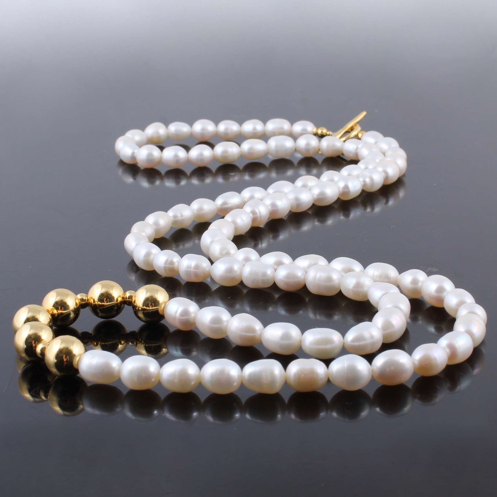 Cultured Freshwater Pearl and Gold Wash Sterling Necklace