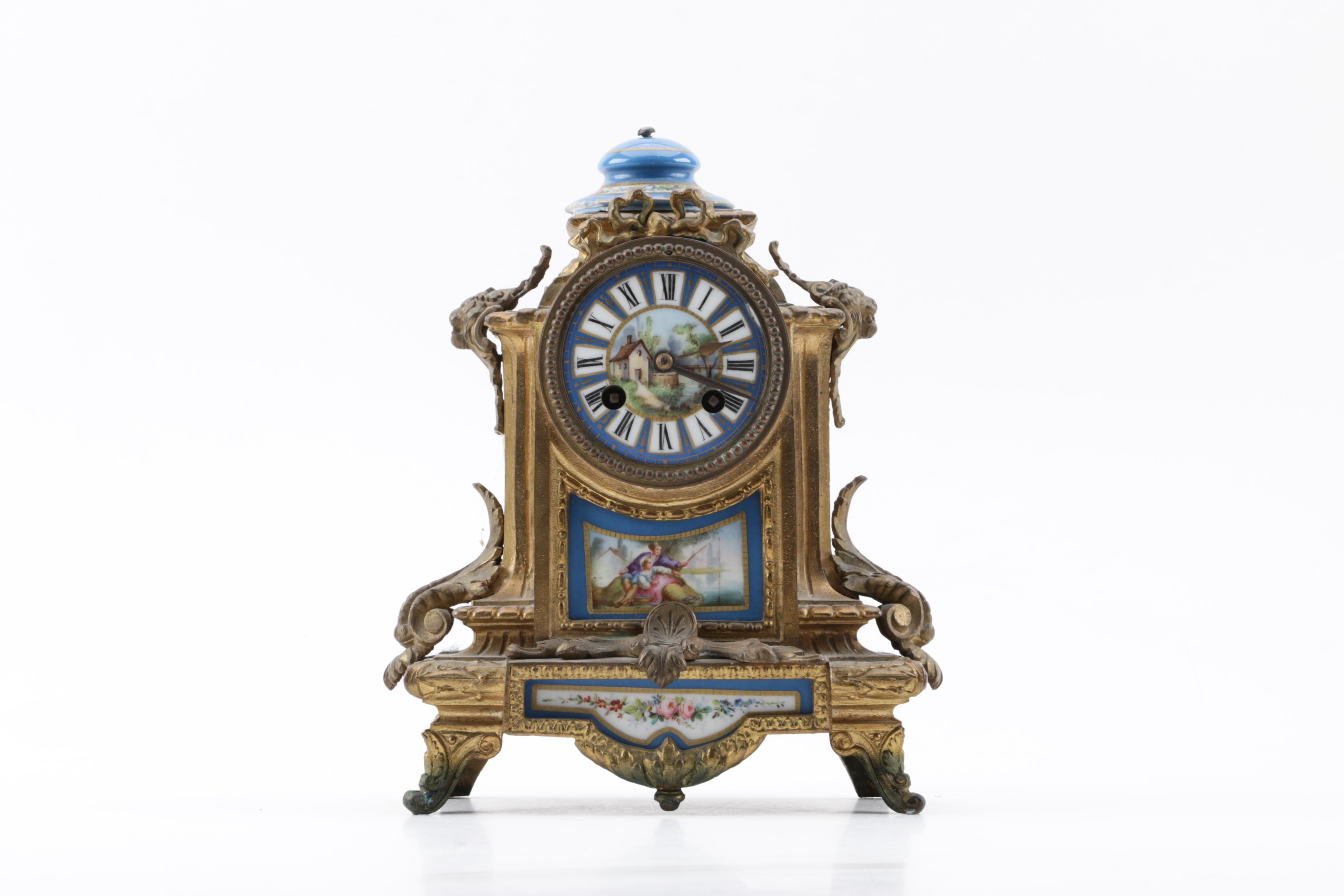 Antique brass french mantel clocks