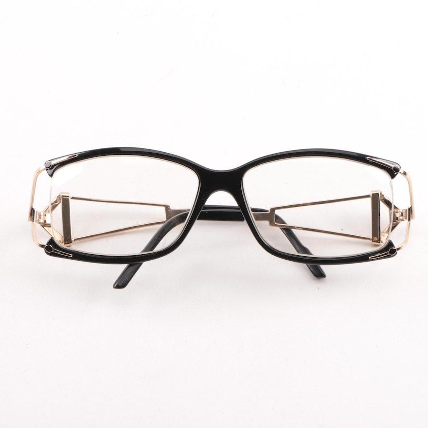 2b70037a5d54 1980s Vintage Cazal Black and Gold Tone Eyeglasses in Original Case ...
