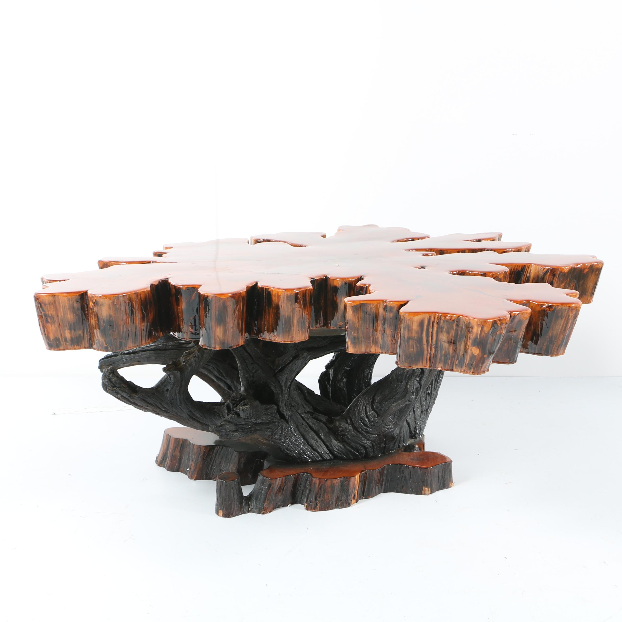 Lacquered Live Edge Wooden Coffee Table