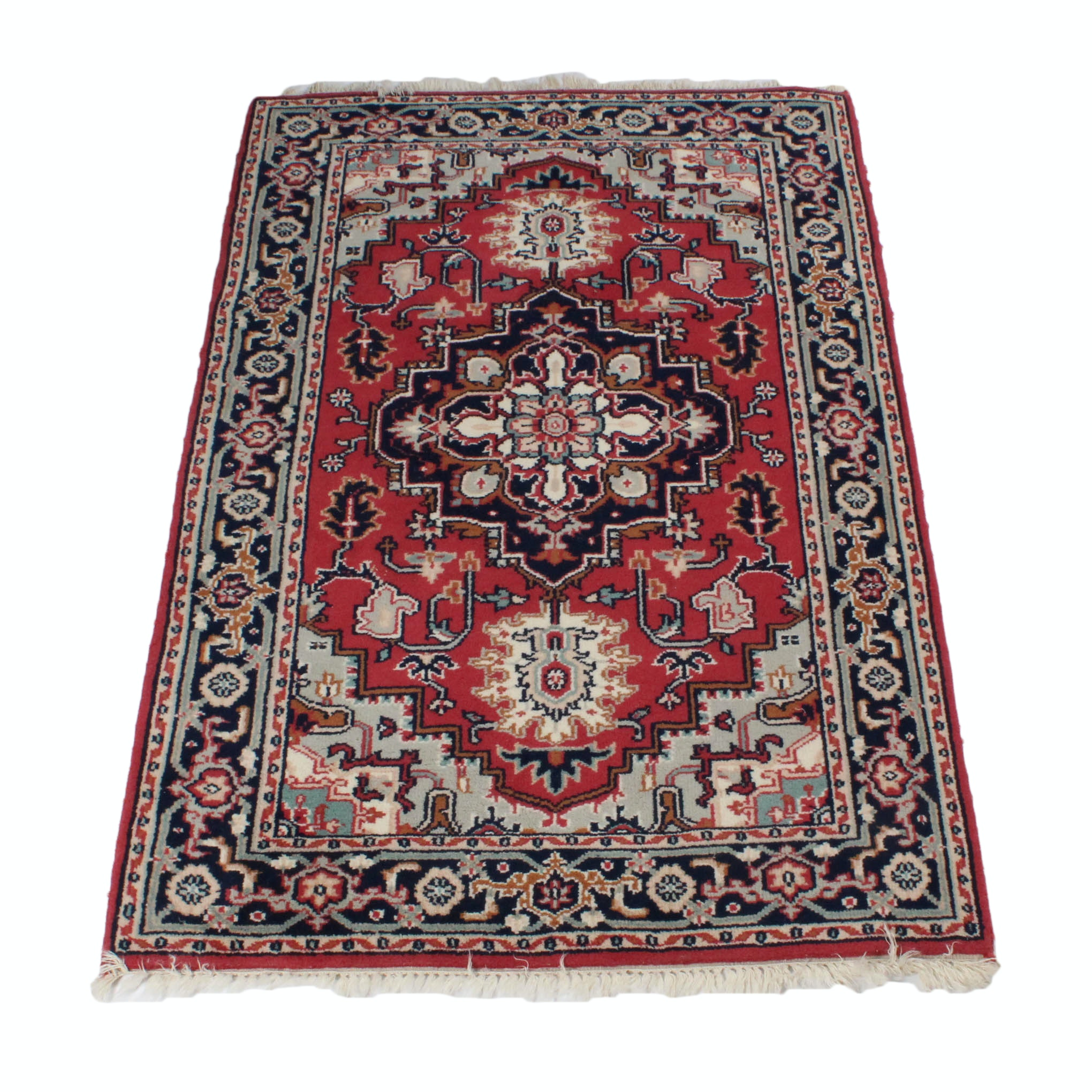 Hand-Knotted Indo Persian Heriz Area Rug