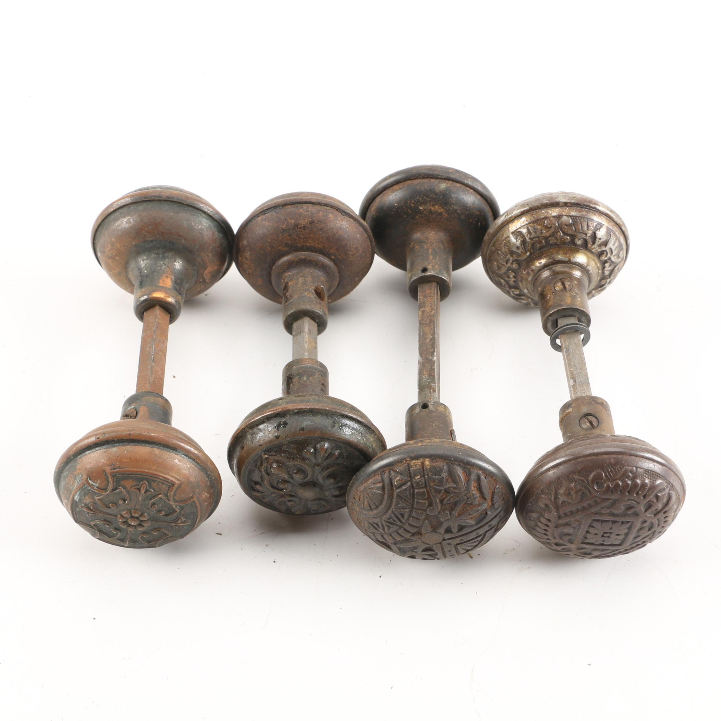 Vintage Metal Door Knobs Featuring Floral Repoussé ...
