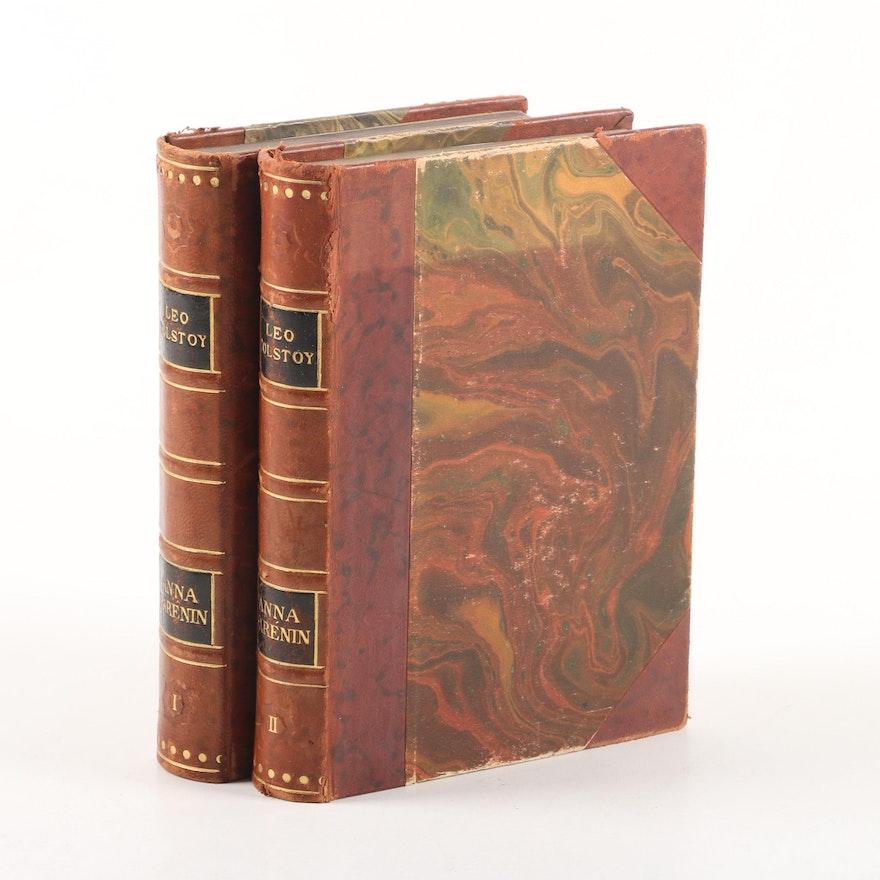 1928 Danish Language Leather Bound Anna Karenina By Leo Tolstoy Ebth